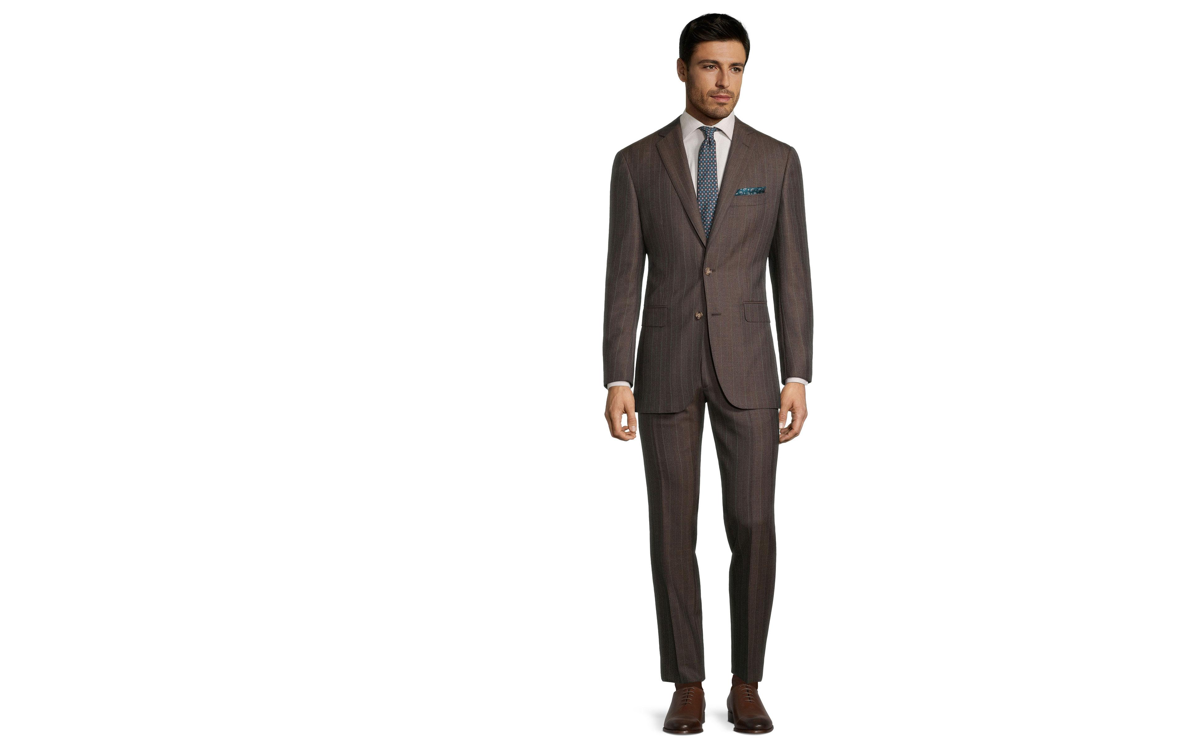 Traditionally Worsted Green Stripe Brown Suit