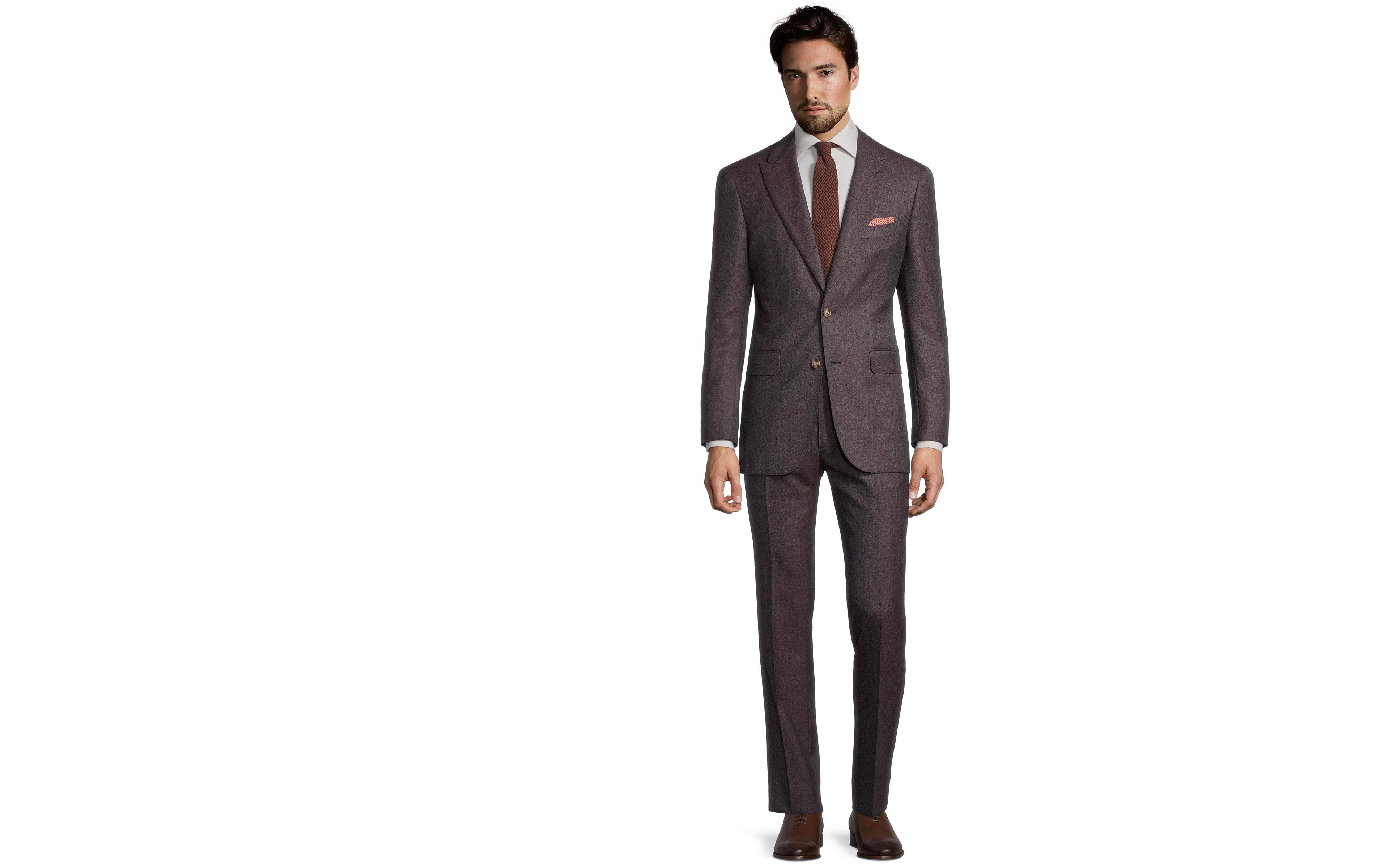 Burgundy and Brown Mouline Suit