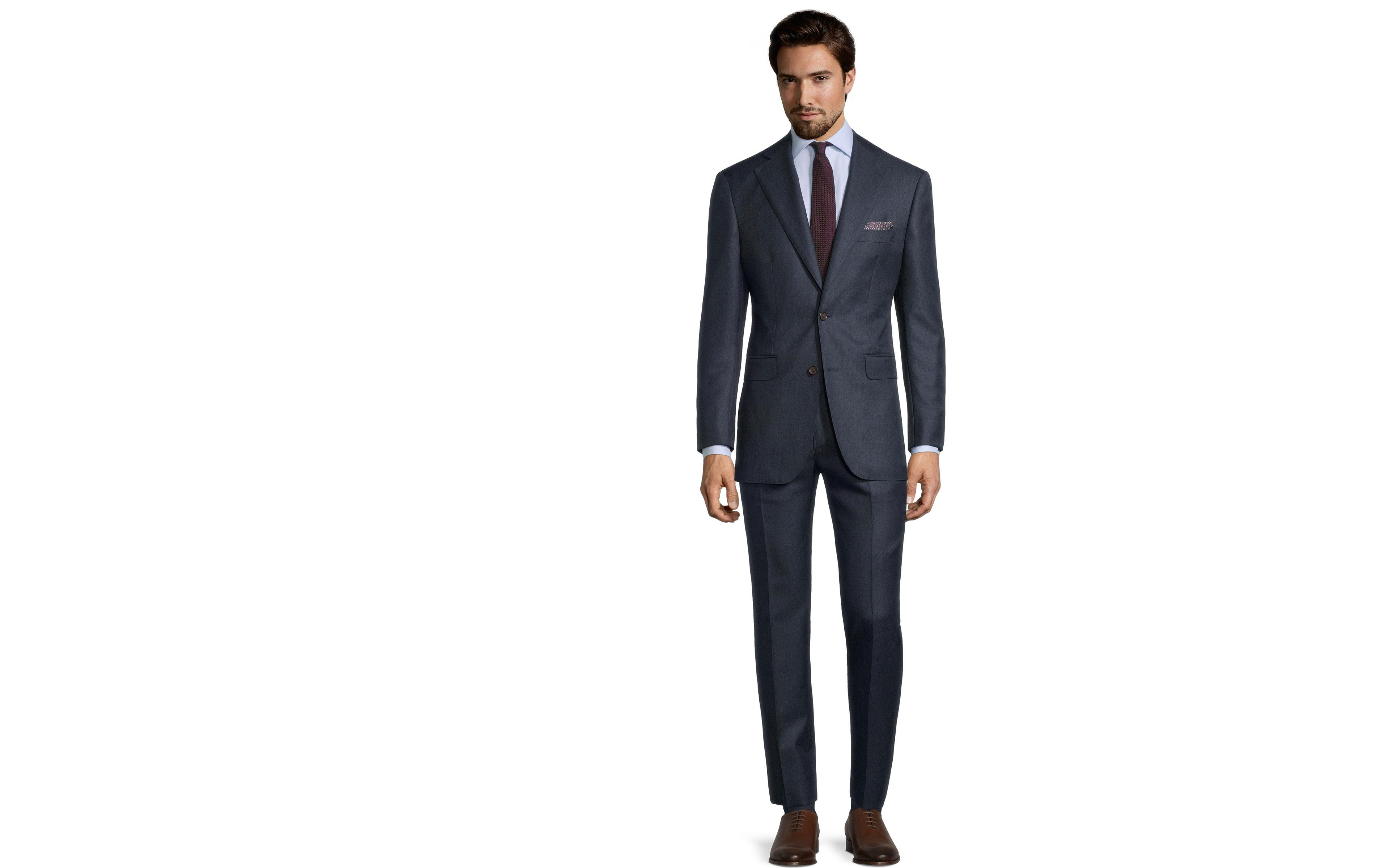 Traditionally Worsted Navy Melange Suit