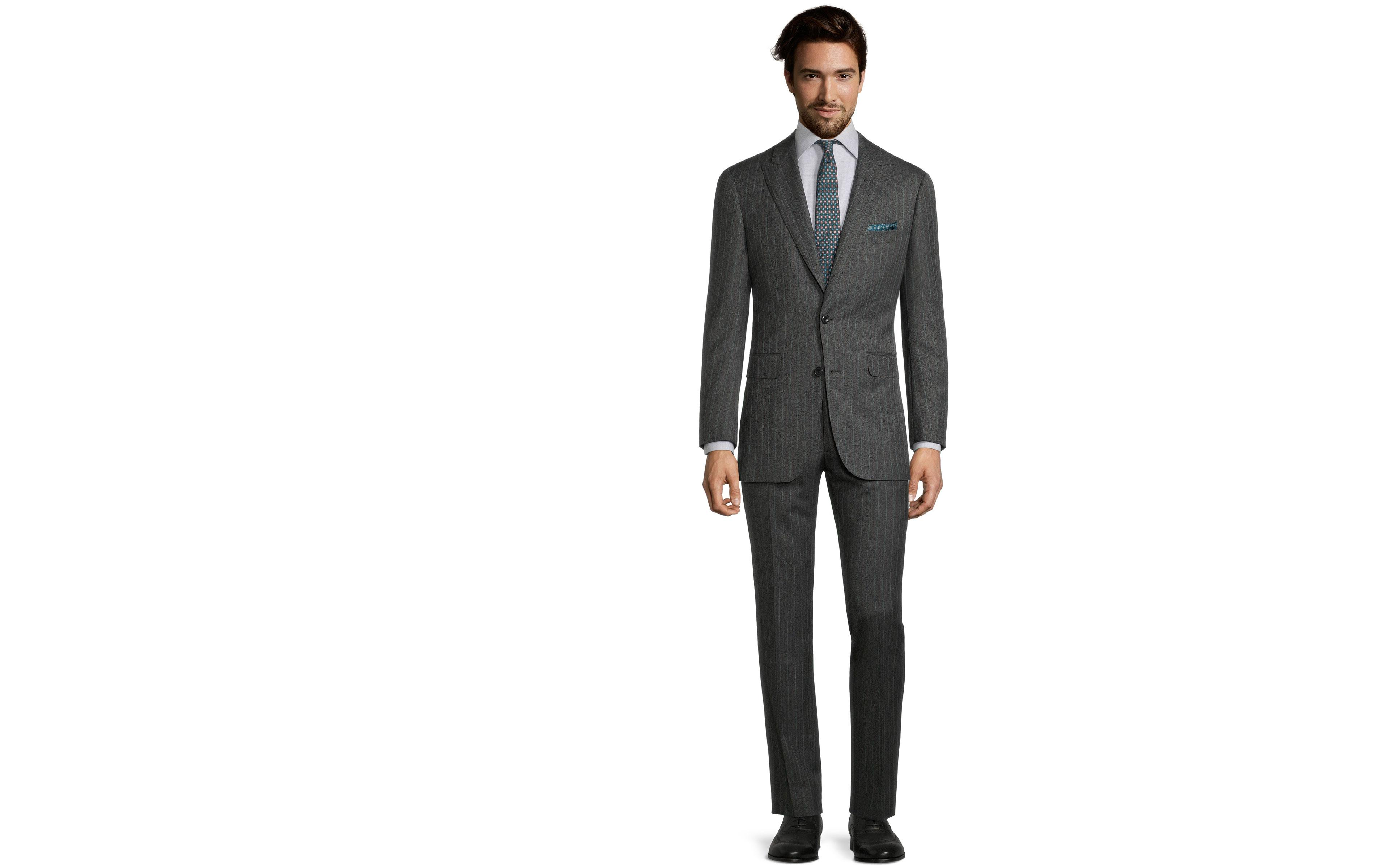 Green Stripe Charcoal Mouline Suit