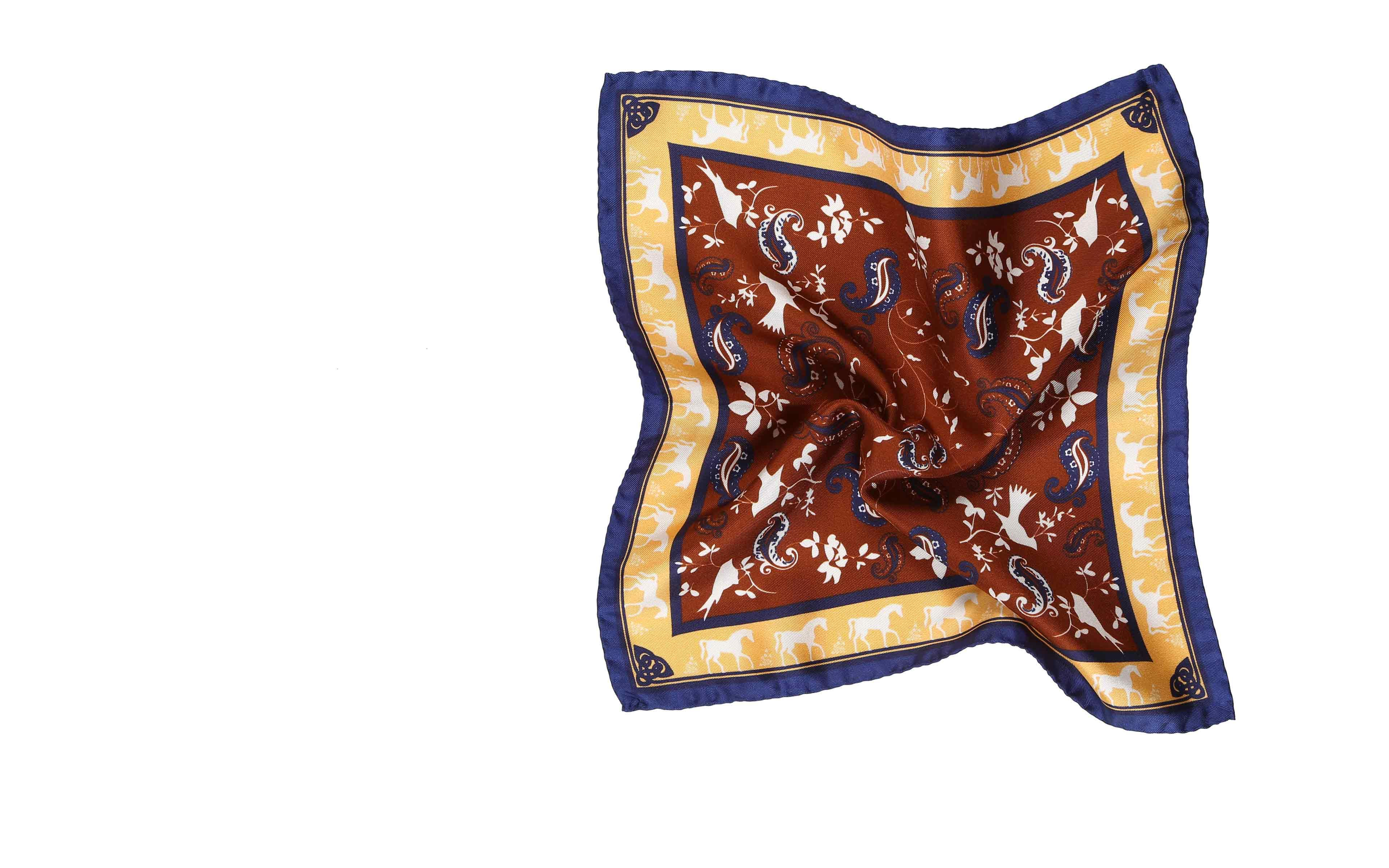 Gold & Chocolate Brown Patterned Italian 100% Silk Pocket Square