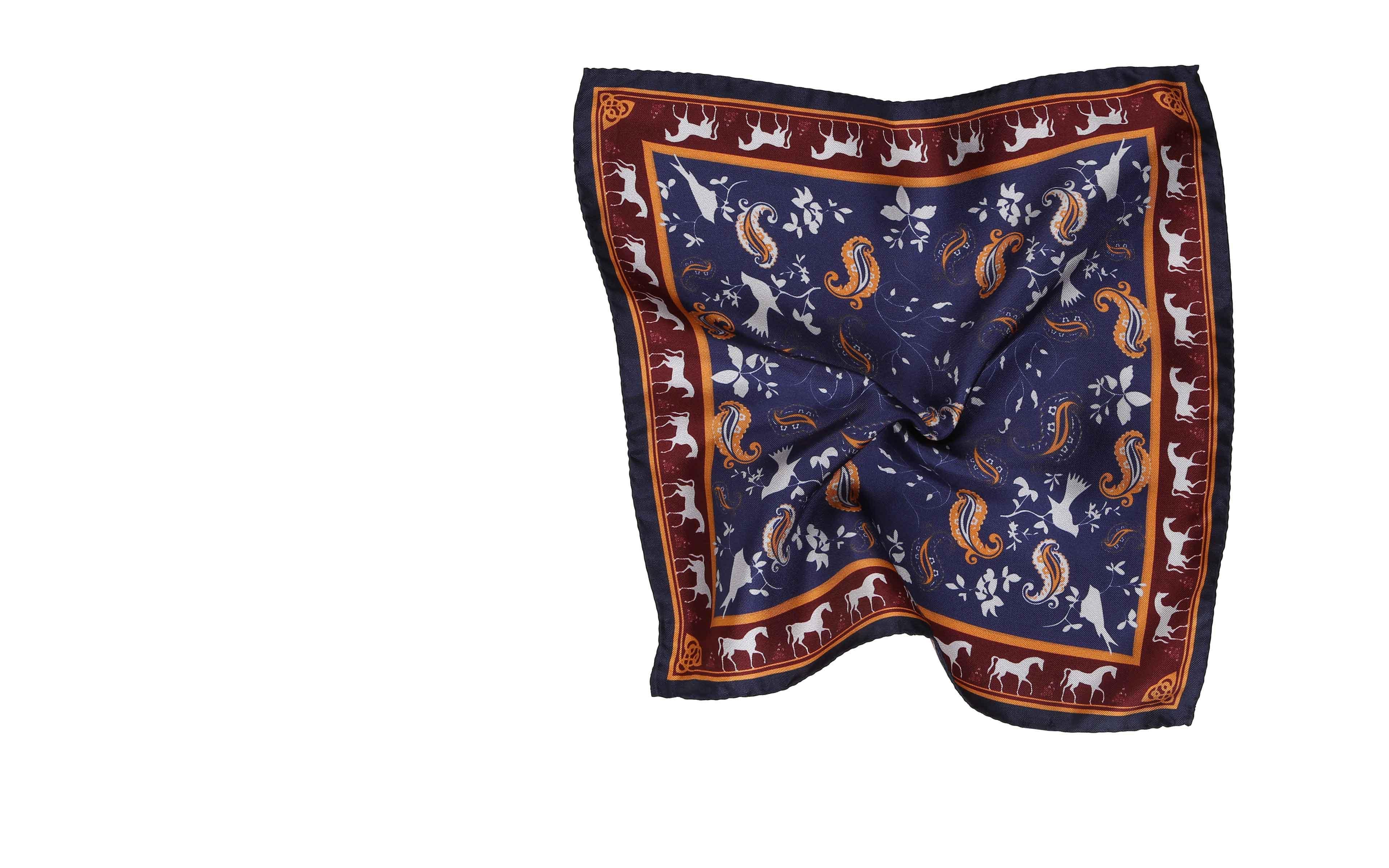Burgundy & Navy Patterned Italian 100% Silk Pocket Square