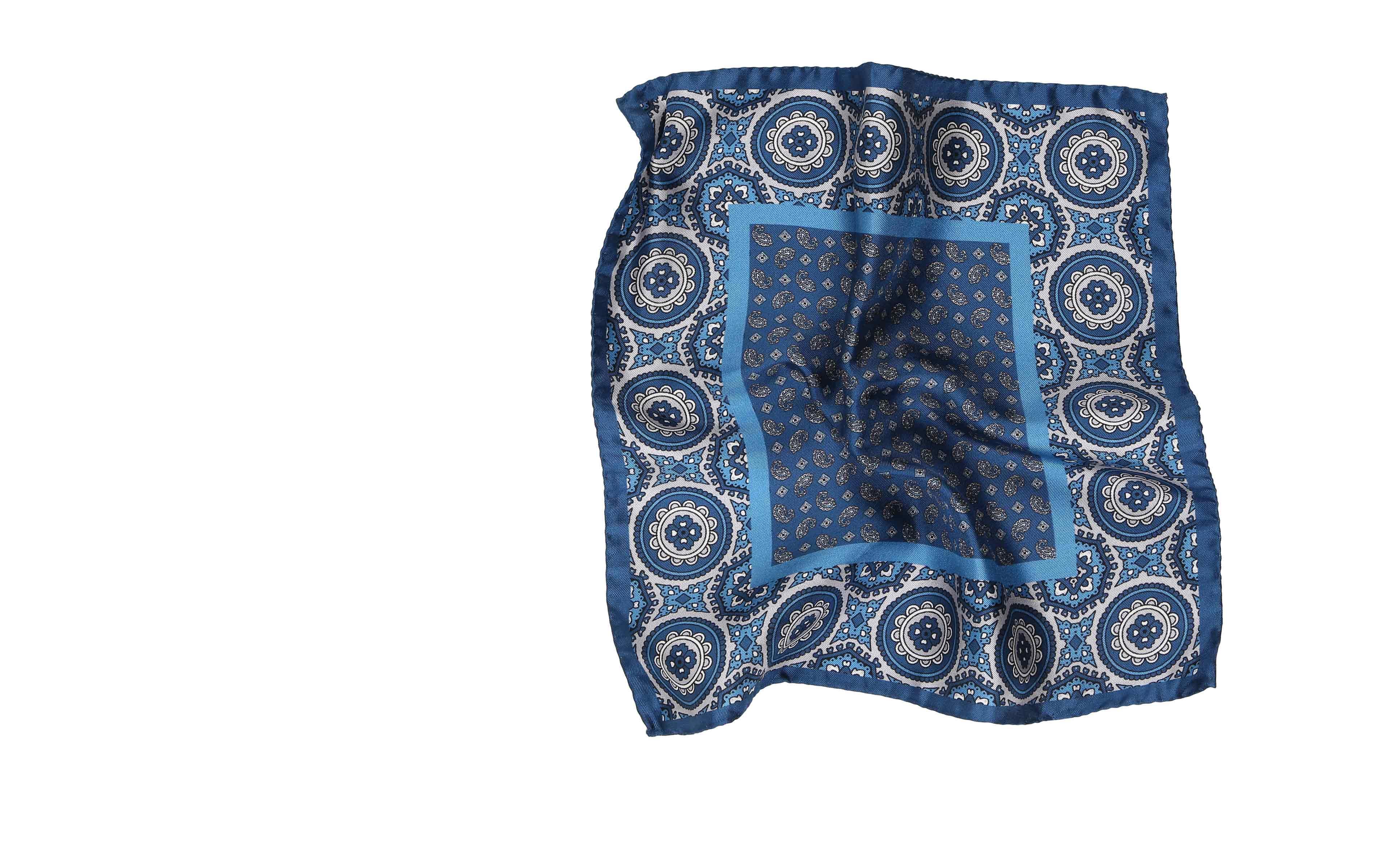 Steel Blue & Silver Italian 100% Silk Pocket Square