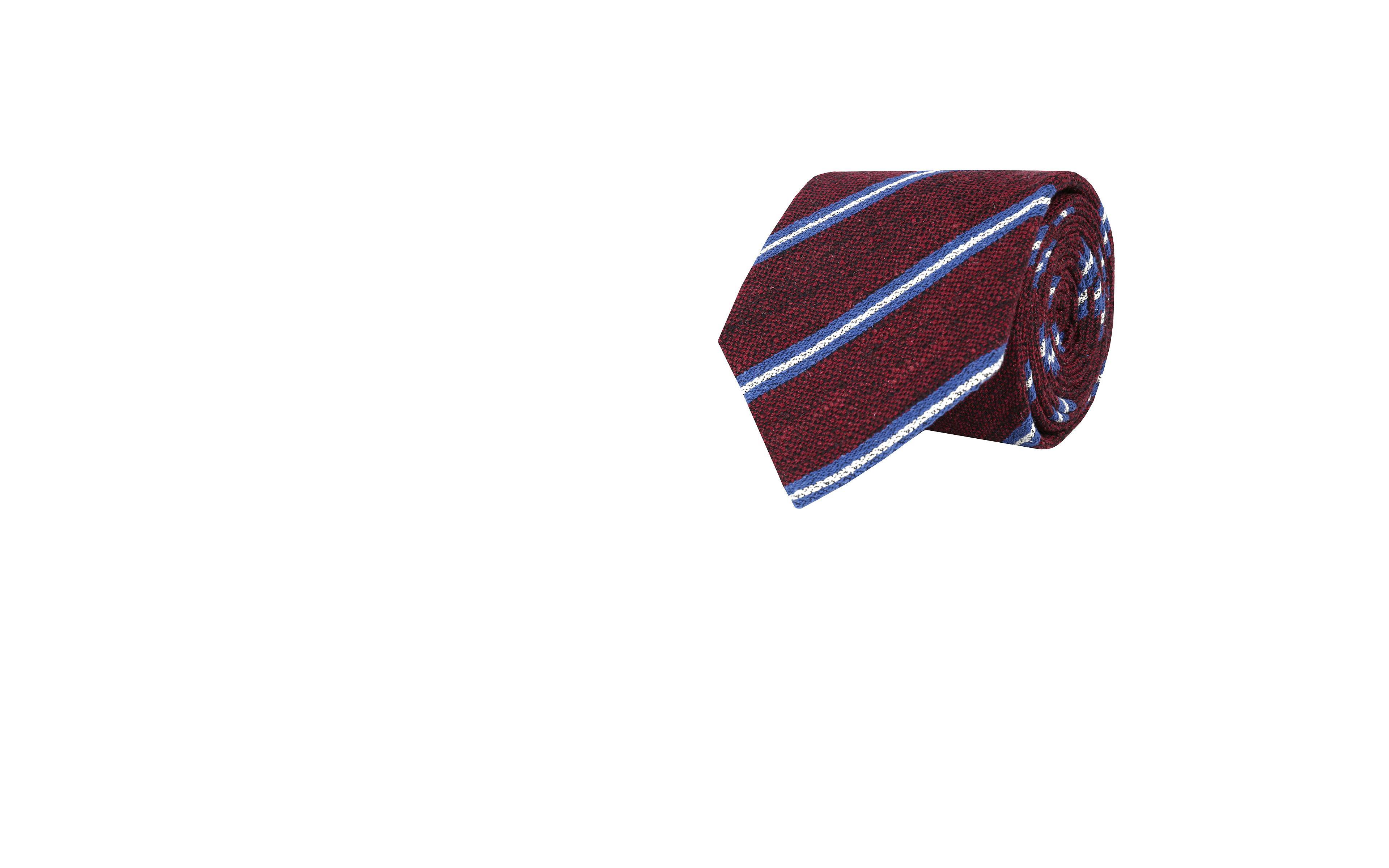 Burgundy & Blue Striped Vintage Silk-Cotton Tie
