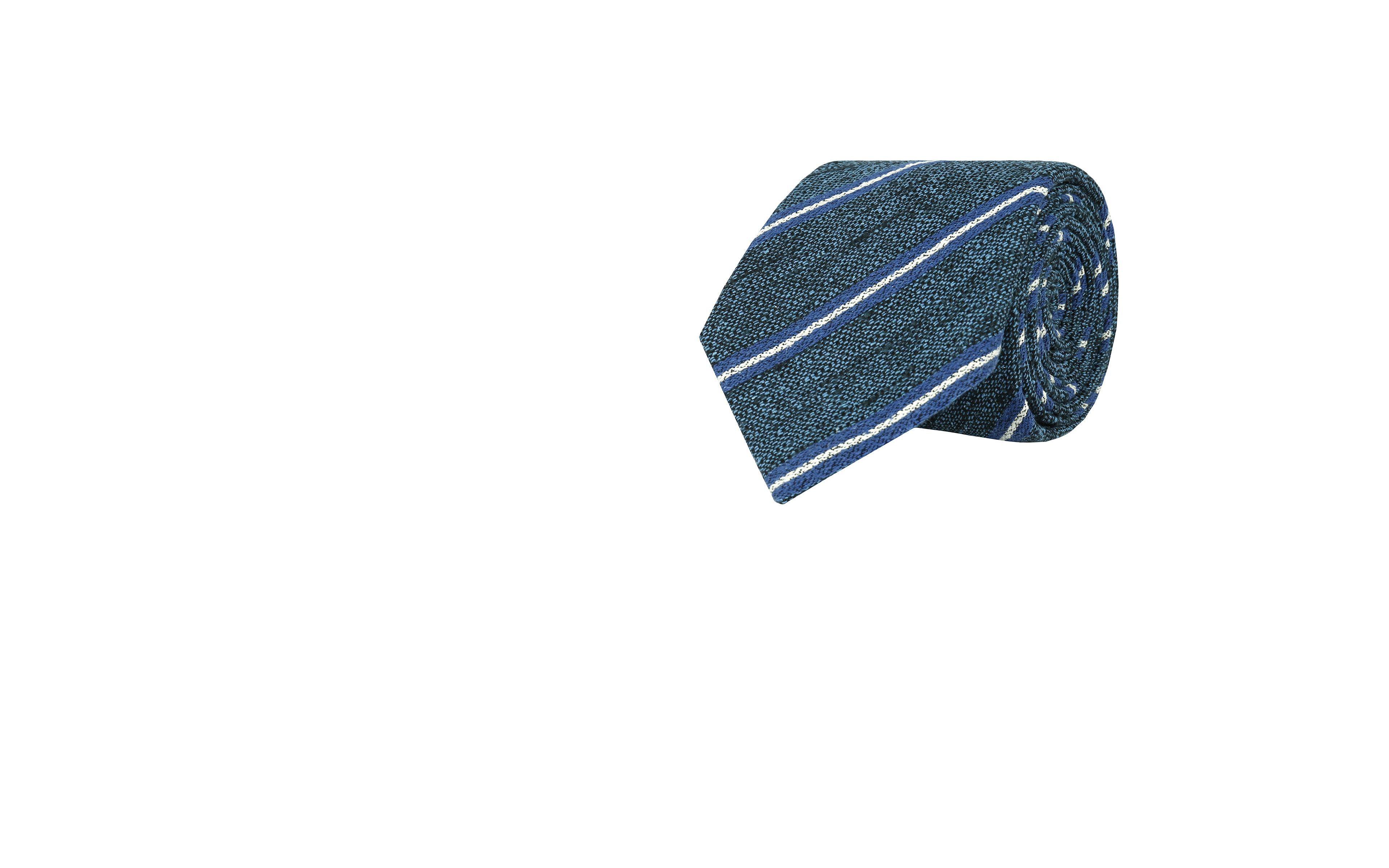 Steel Blue & Blue Striped Vintage Silk-Cotton Tie