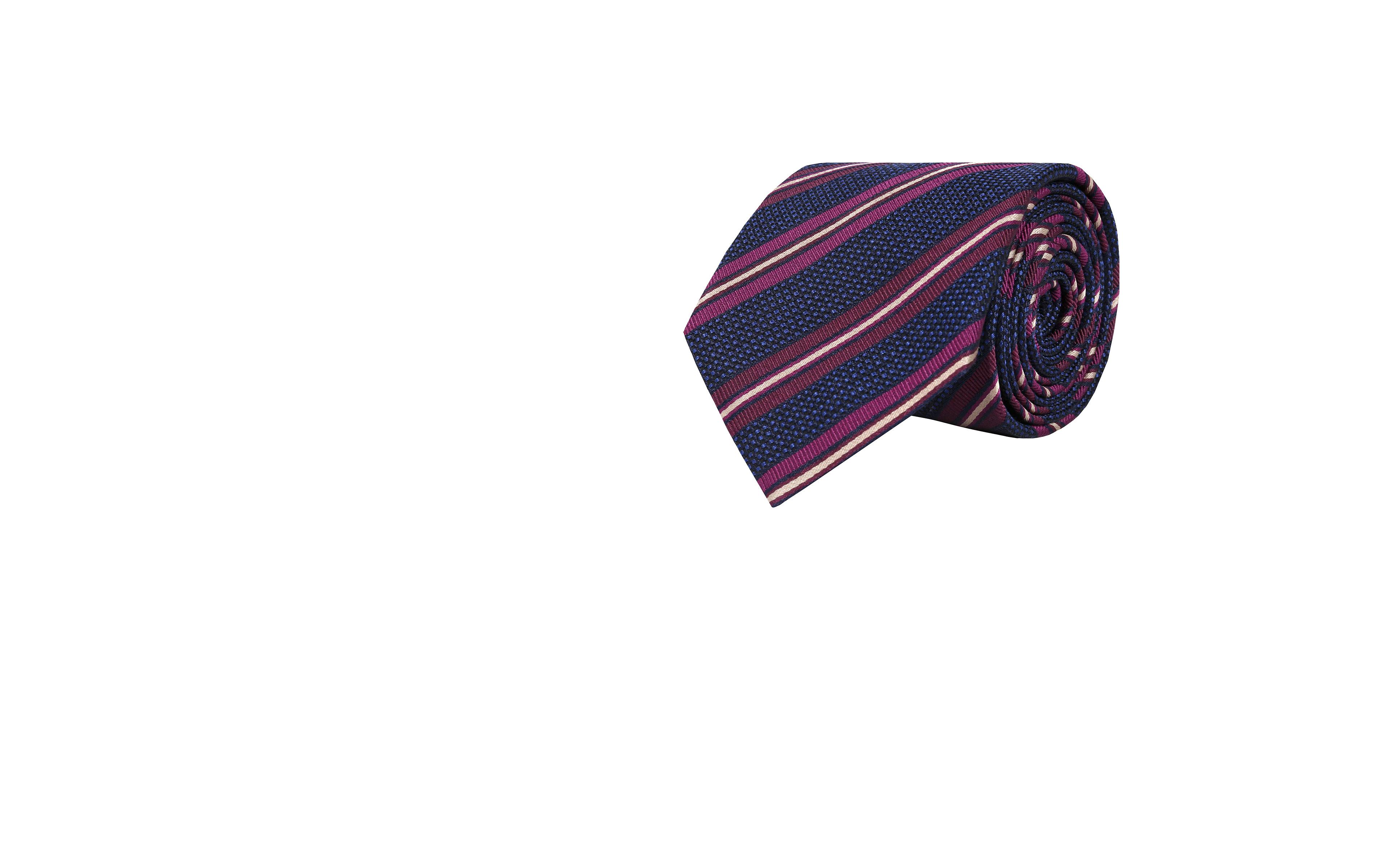 Dark Navy & Purple Striped Silk-Cotton Tie