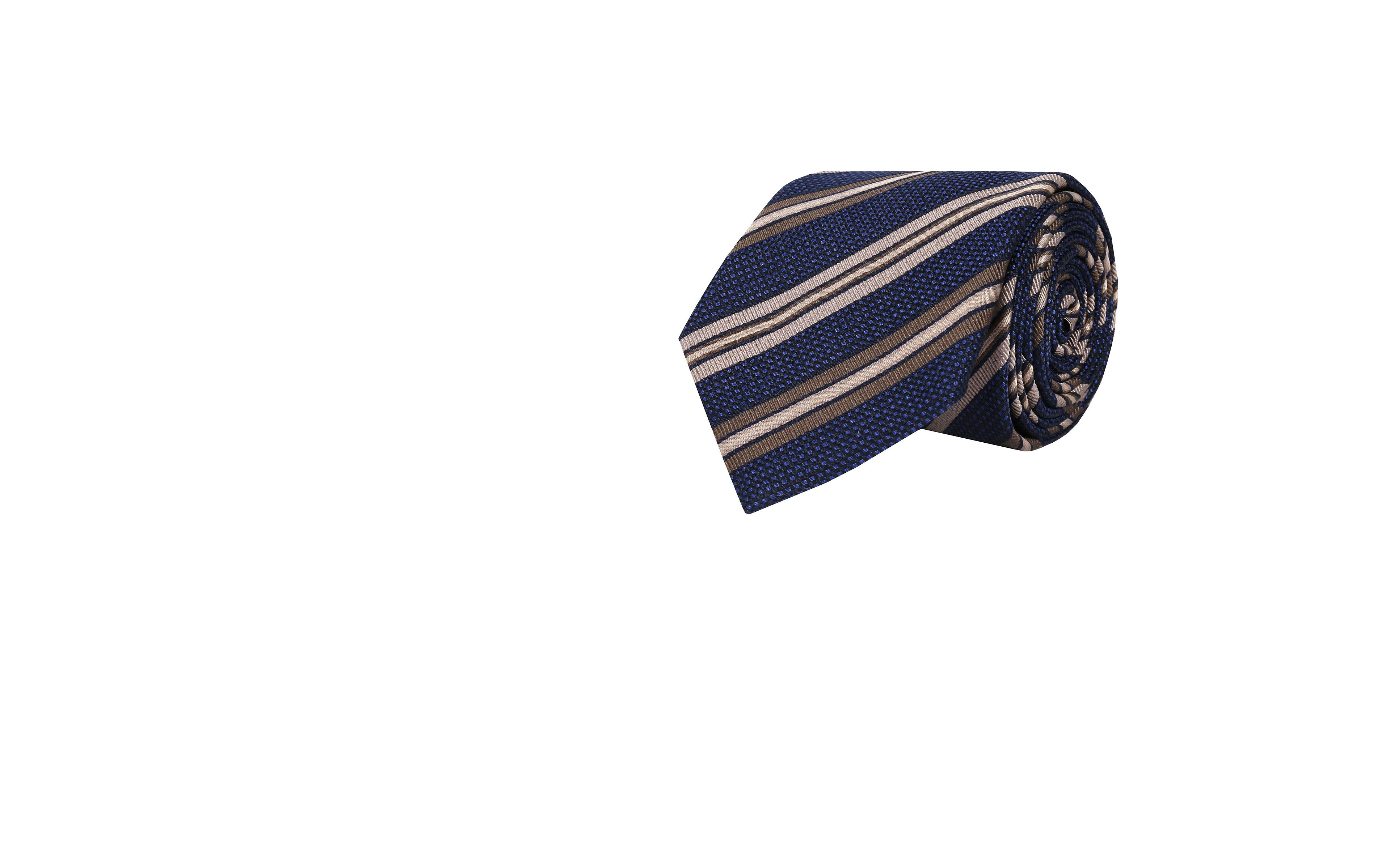 Dark Navy & Beige Striped Silk-Cotton Tie