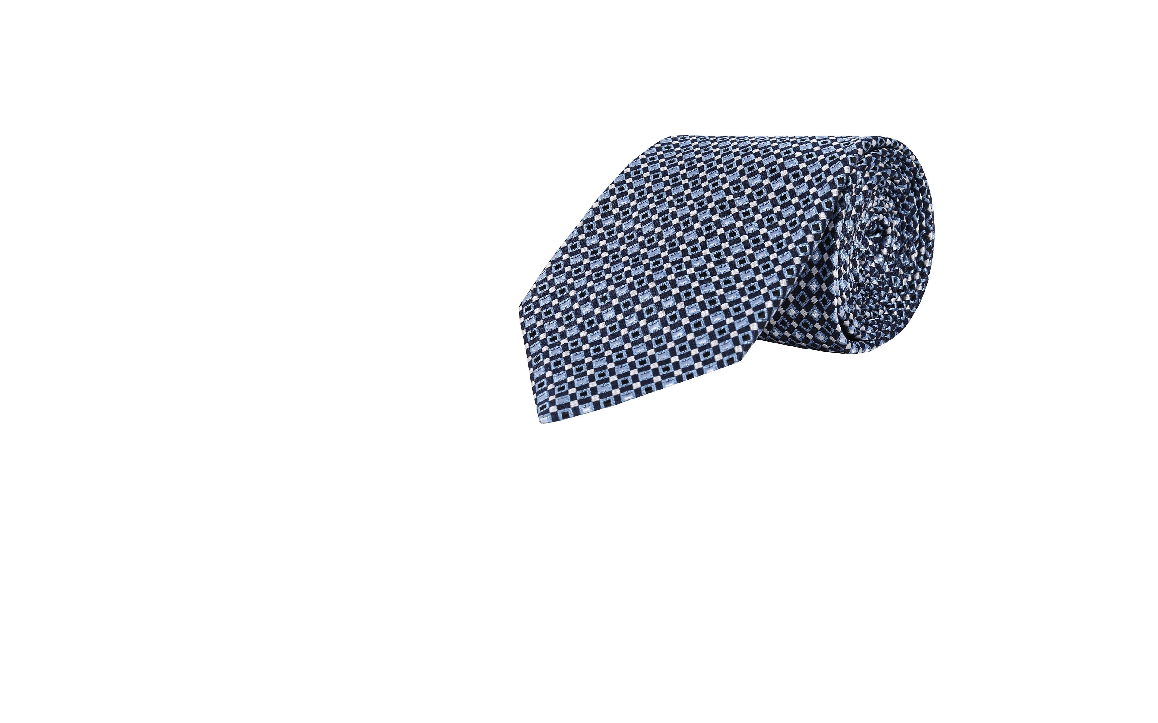 Navy & Blue Micropatterned Silk Tie