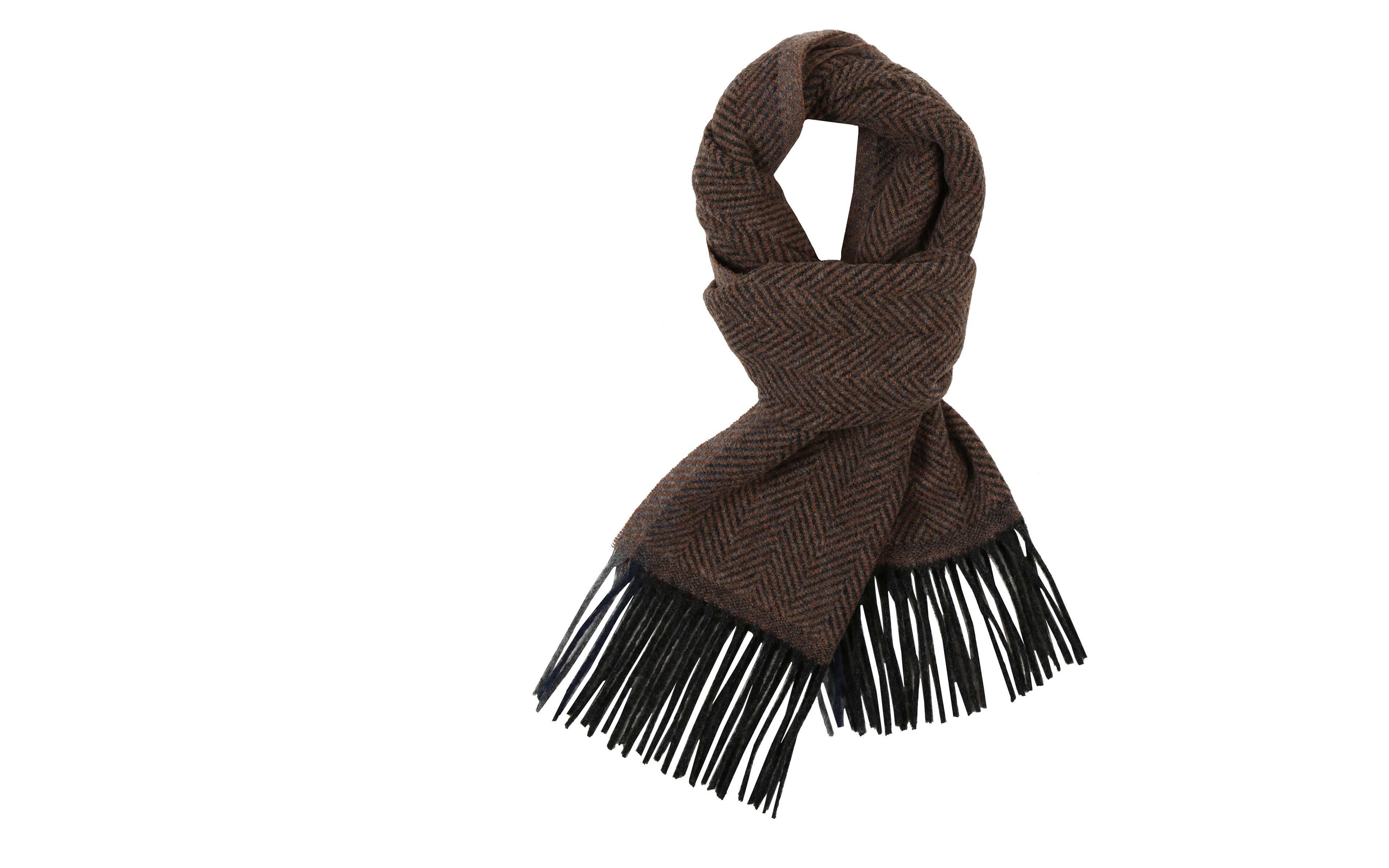 Tobacco Brown Herringbone Wool Scarf