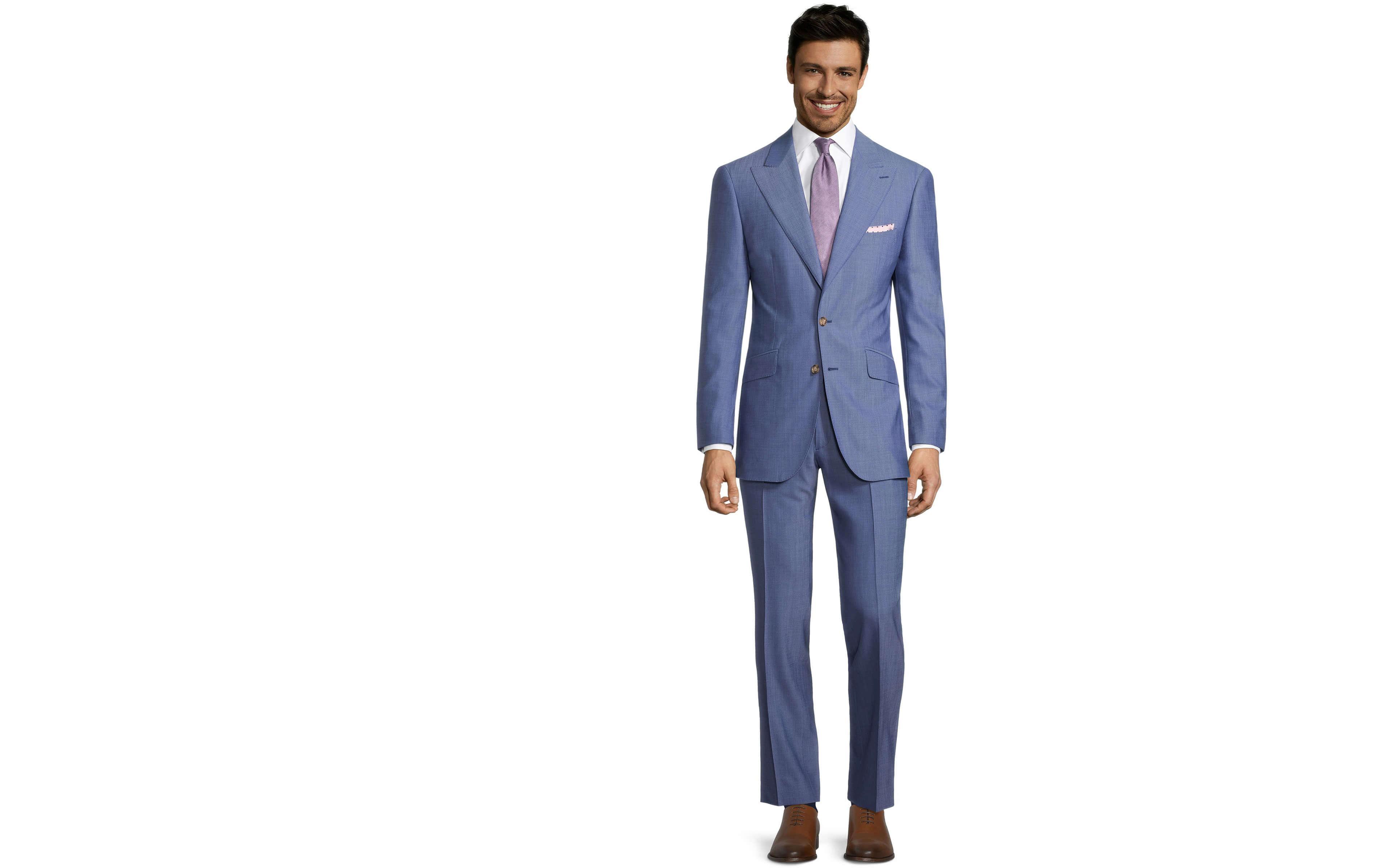 Solid Sky Blue Bi-Stretch Suit
