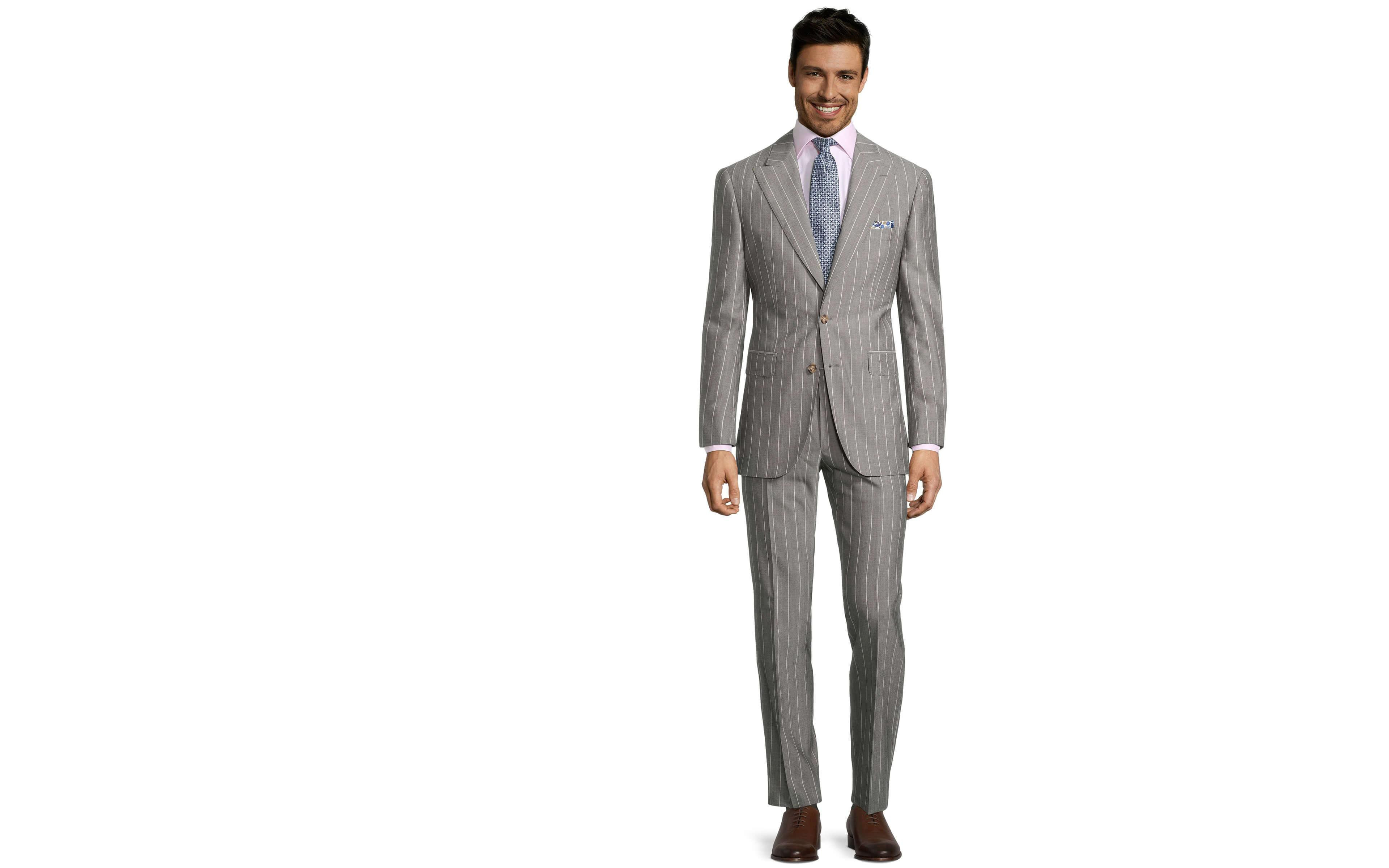 Light Grey Wide Stripe Suit