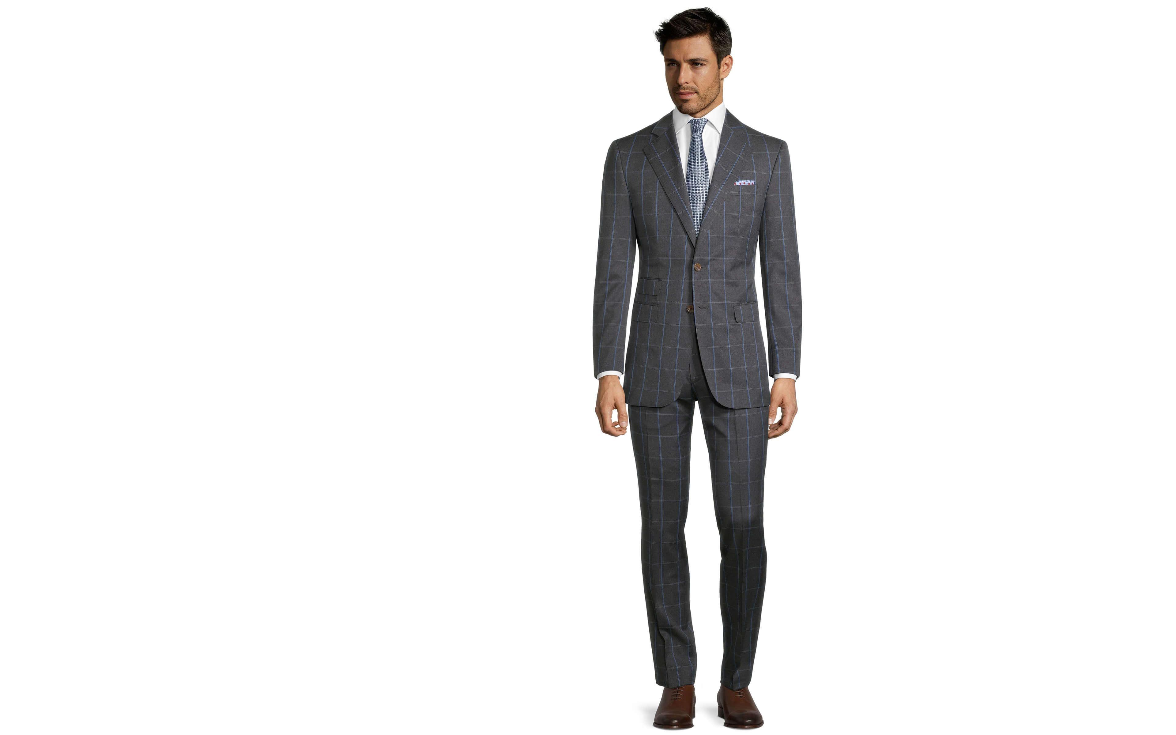 Blue Check Charcoal Suit