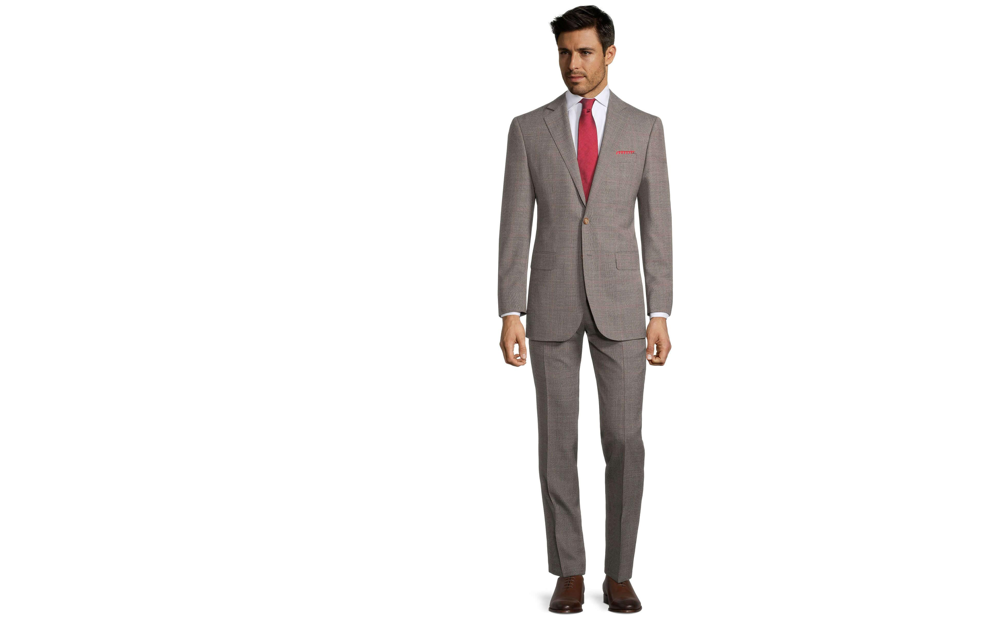 Tropical Rustic Light Brown Plaid with Red Overcheck Suit