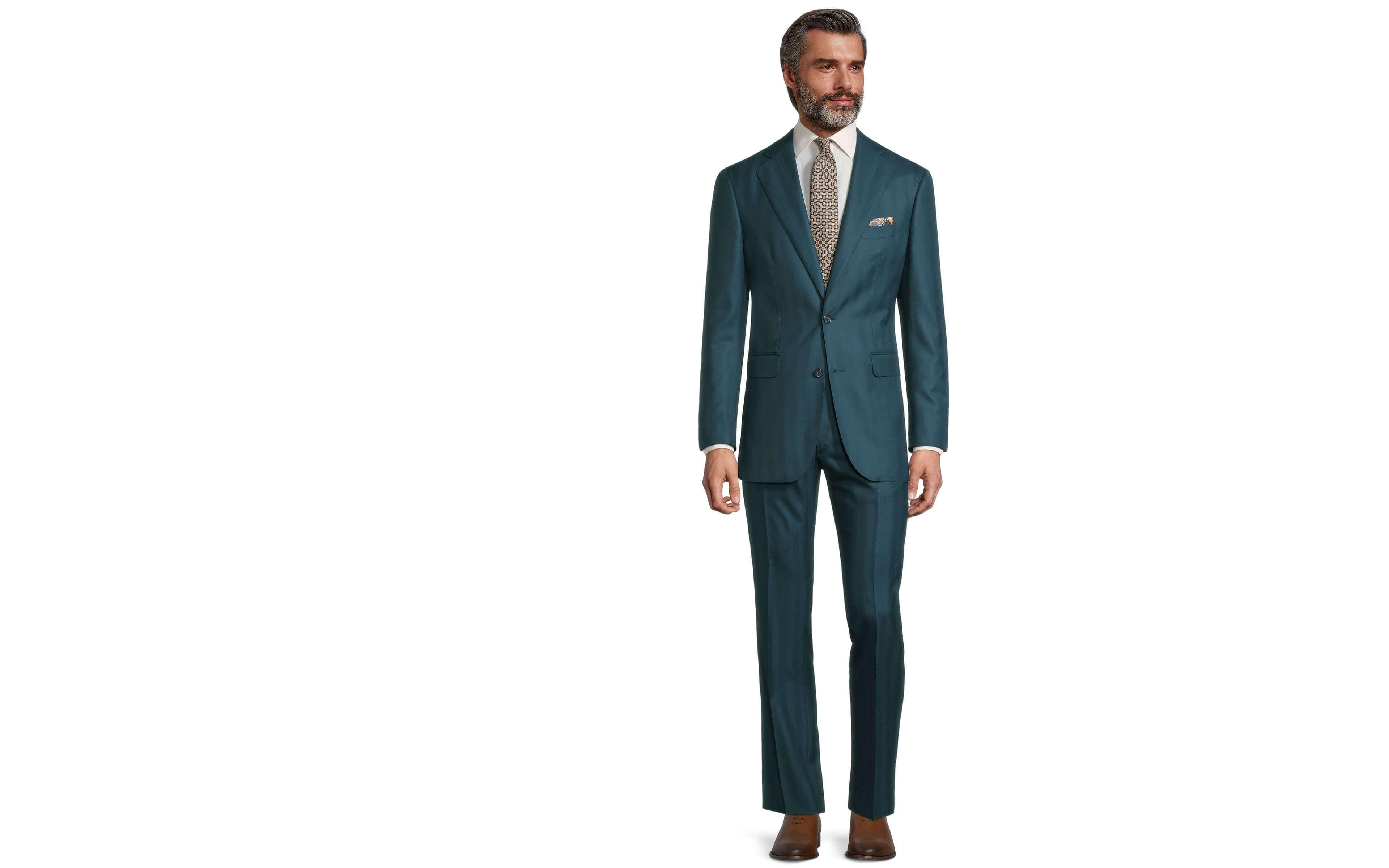 Sartorial Turquoise Blue Green Herringbone 160s Suit