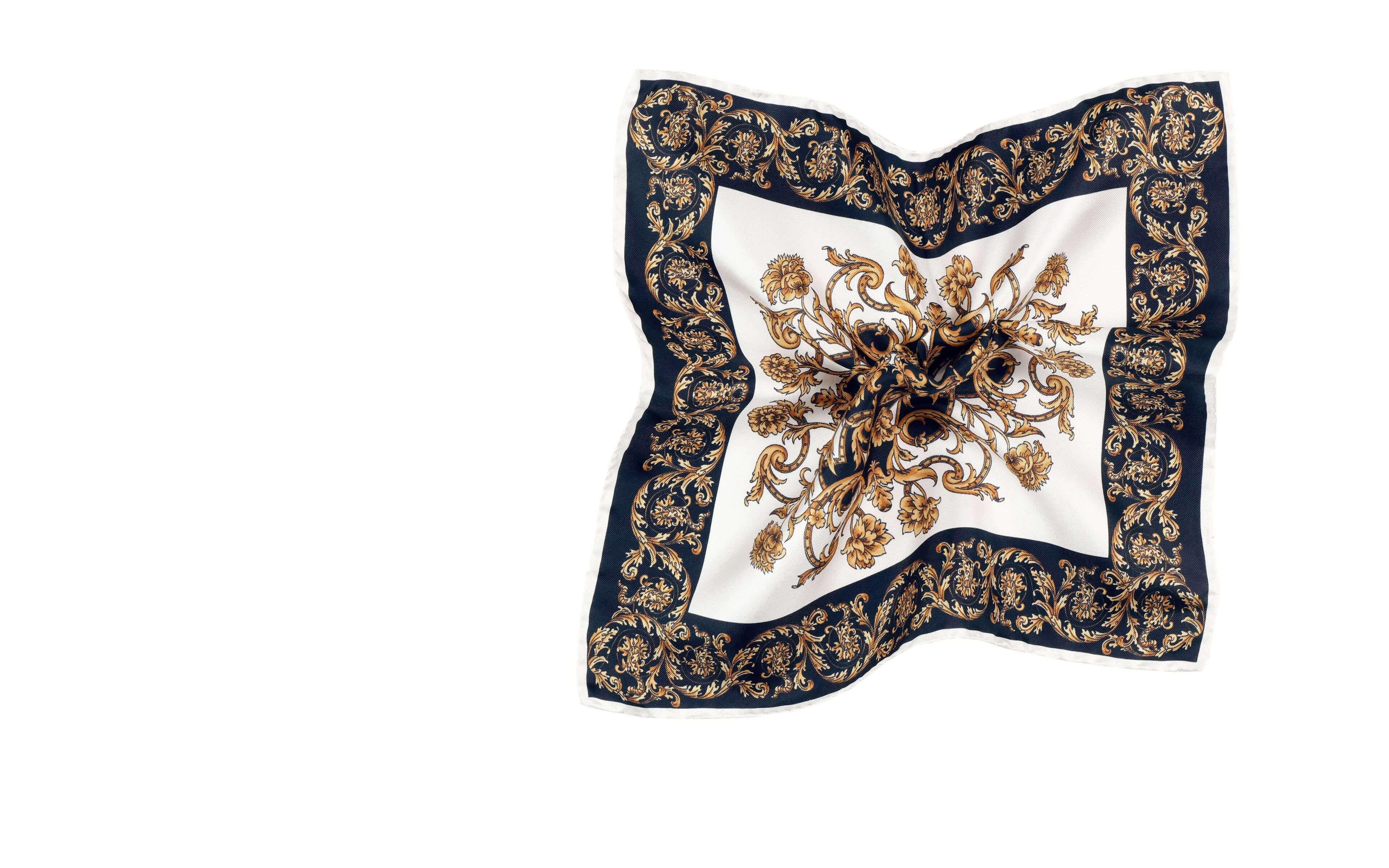 Black and Gold Patterned Italian 100% Silk Pocket Square