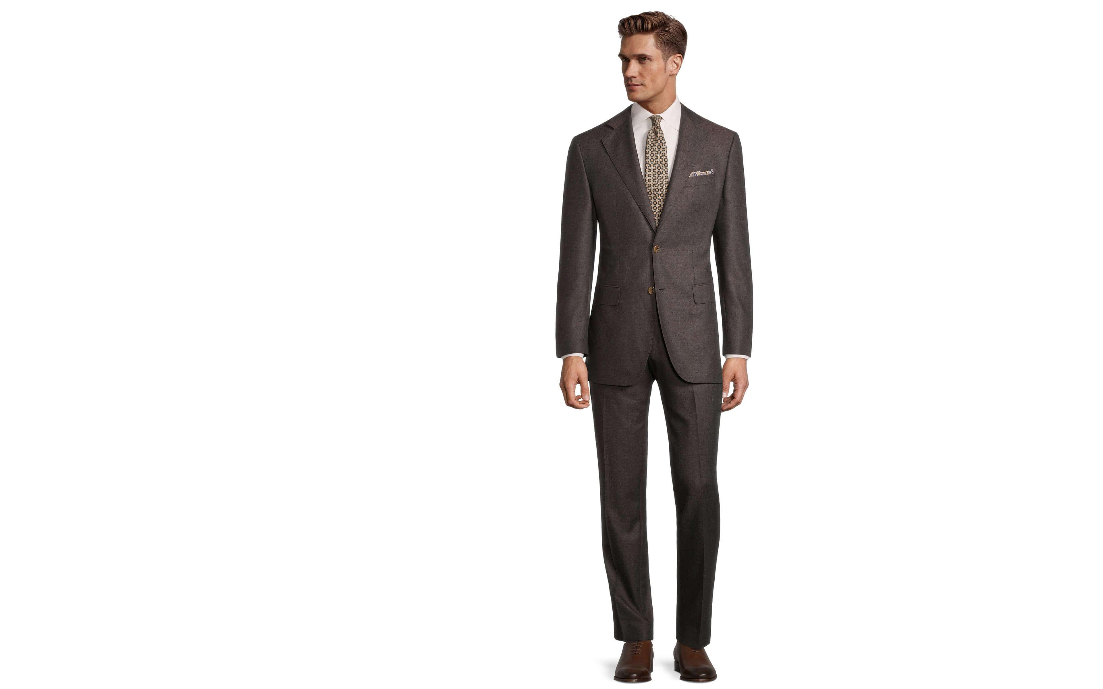 Worsted Chine Dark Brown Suit