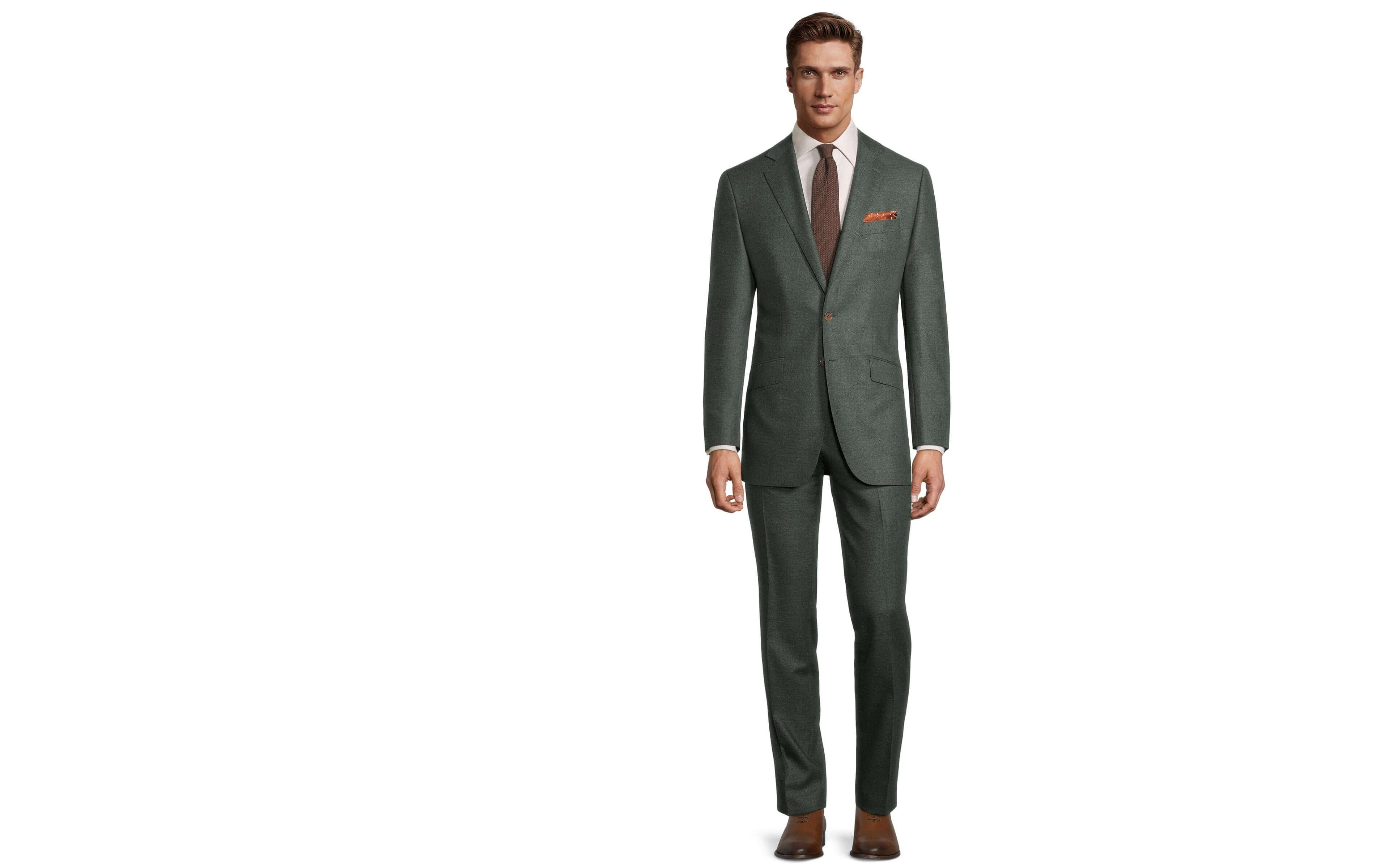 Worsted Chine Dark Green Suit