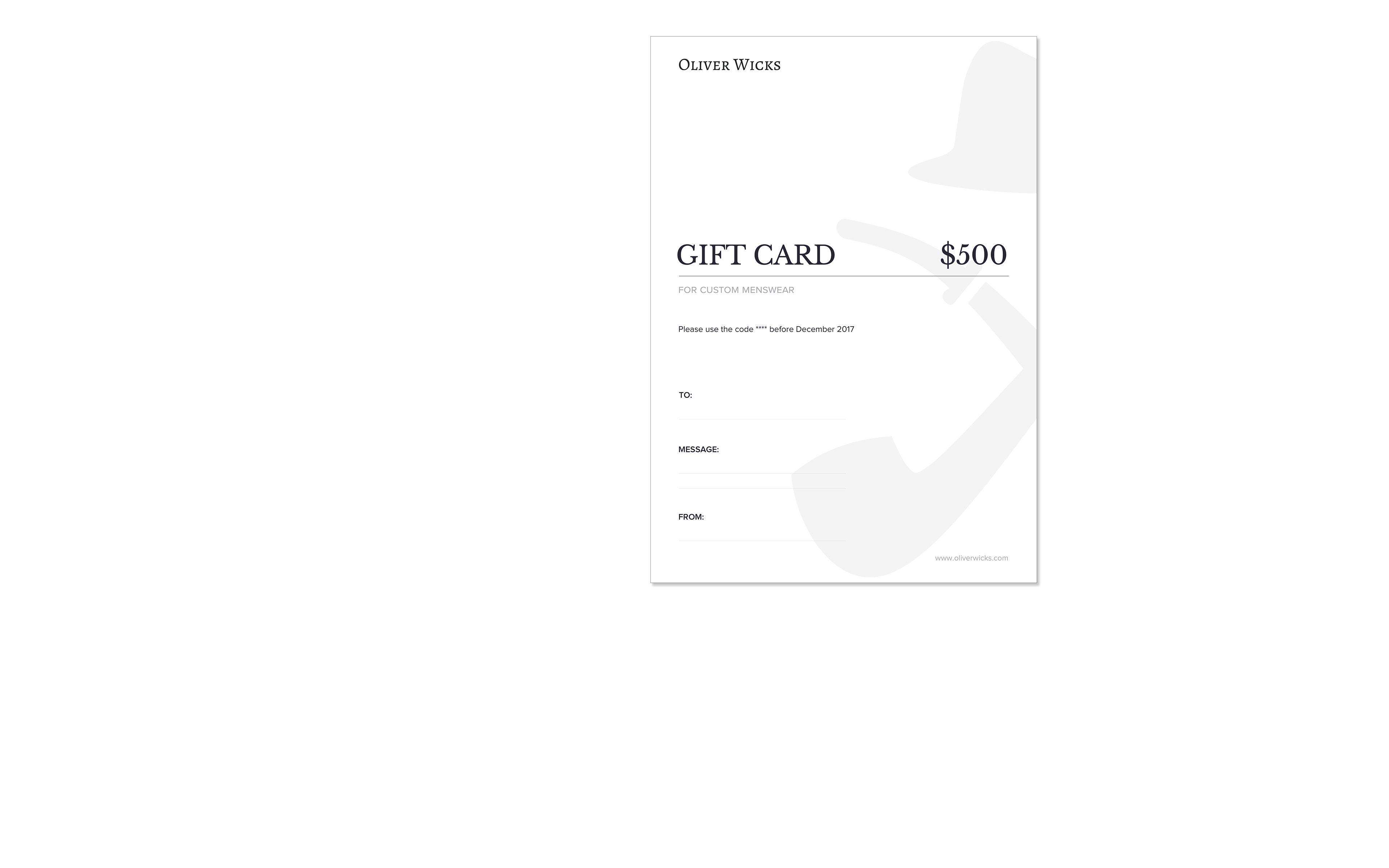 $500 / € 465 Gift e-Card