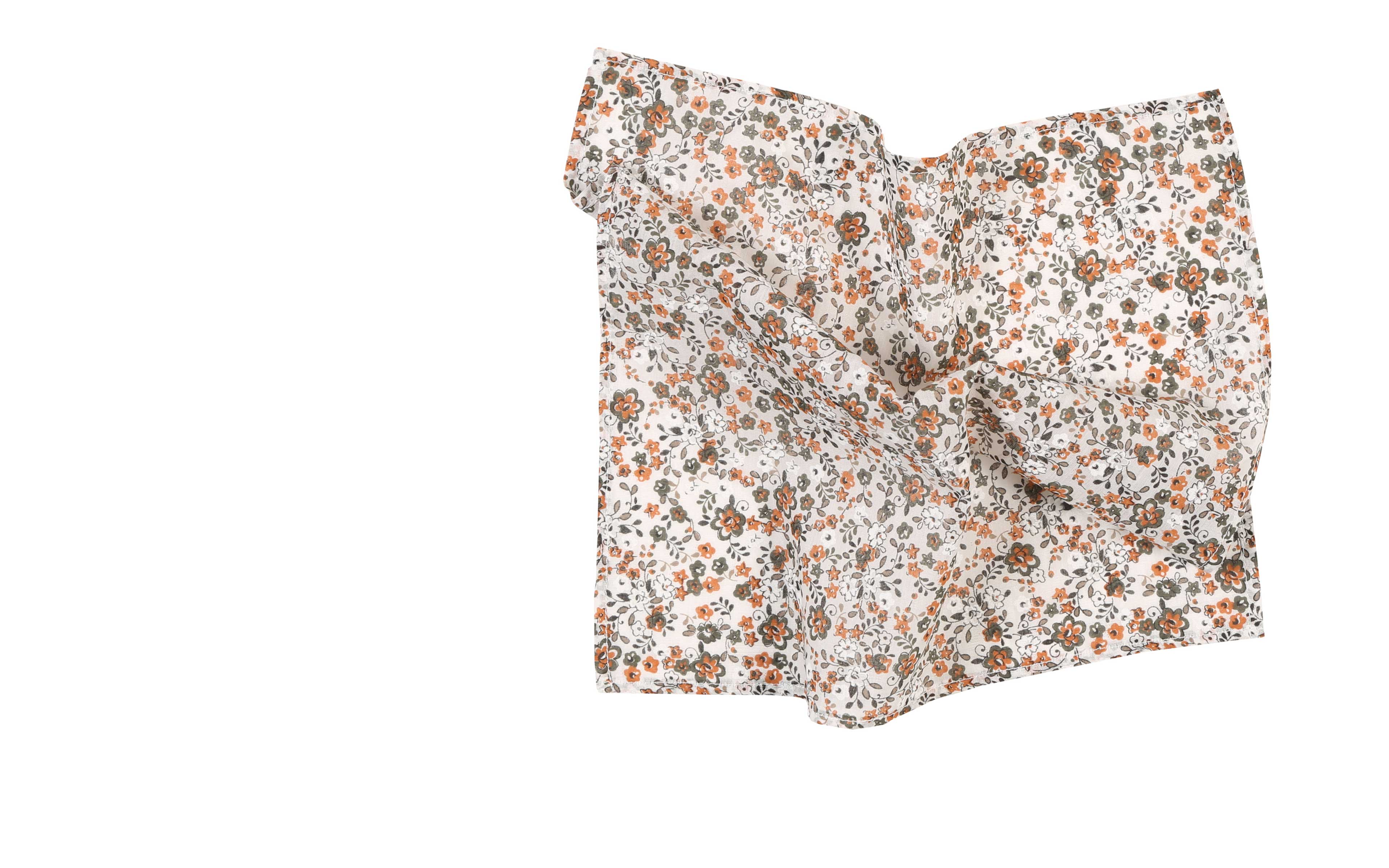 White, Green and Orange Floral Cotton Pocket Square