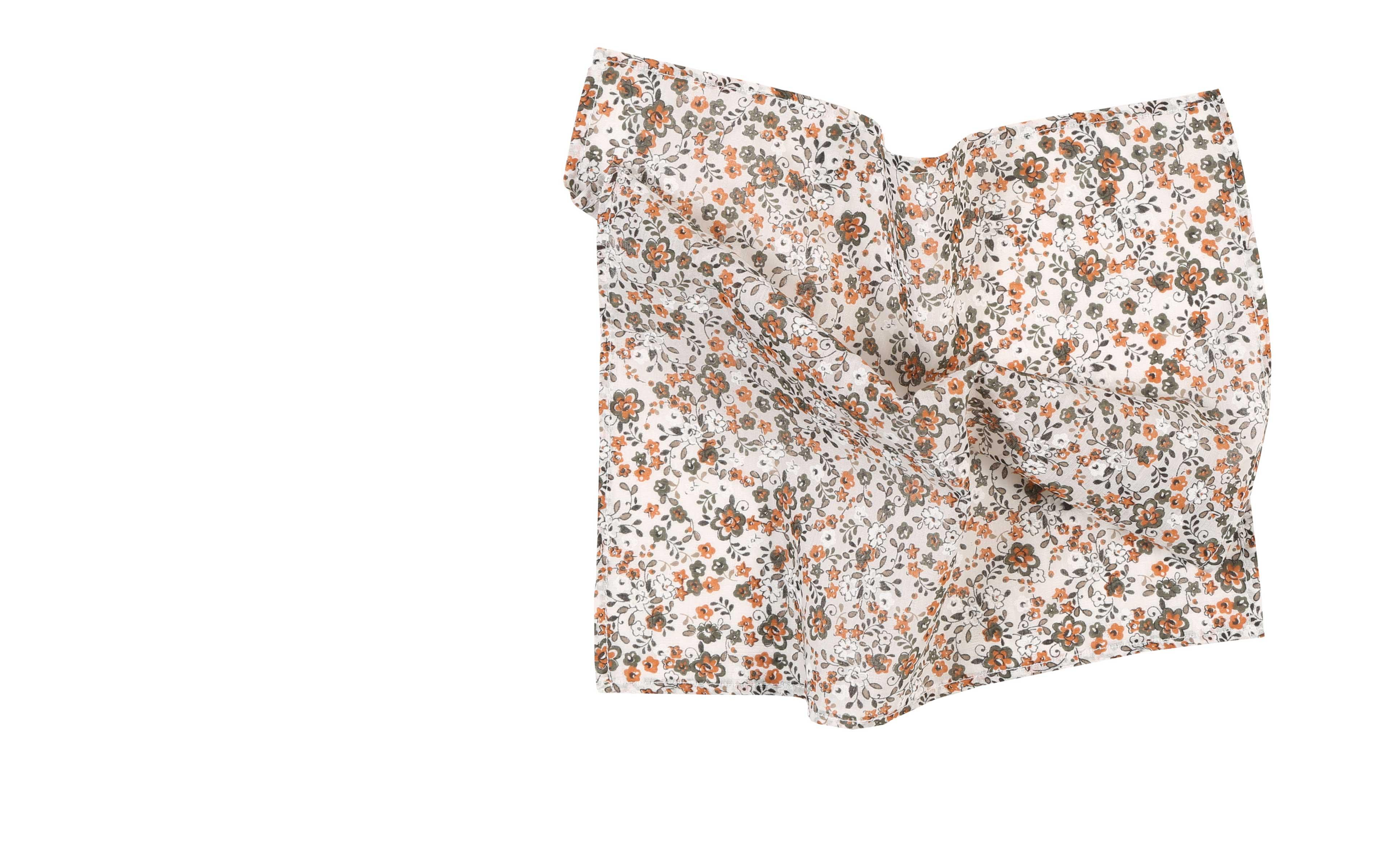 White, Green and Orange Floral Cotton Pocket Square