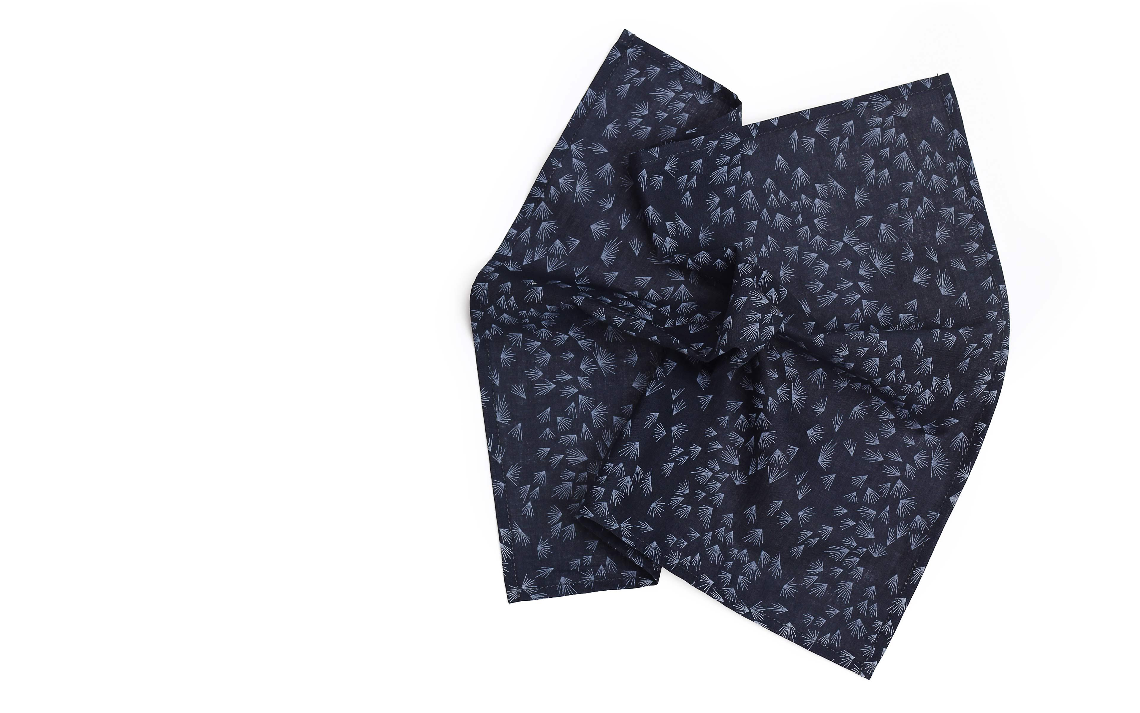 Navy Pocket Square With A Dandelion Pattern