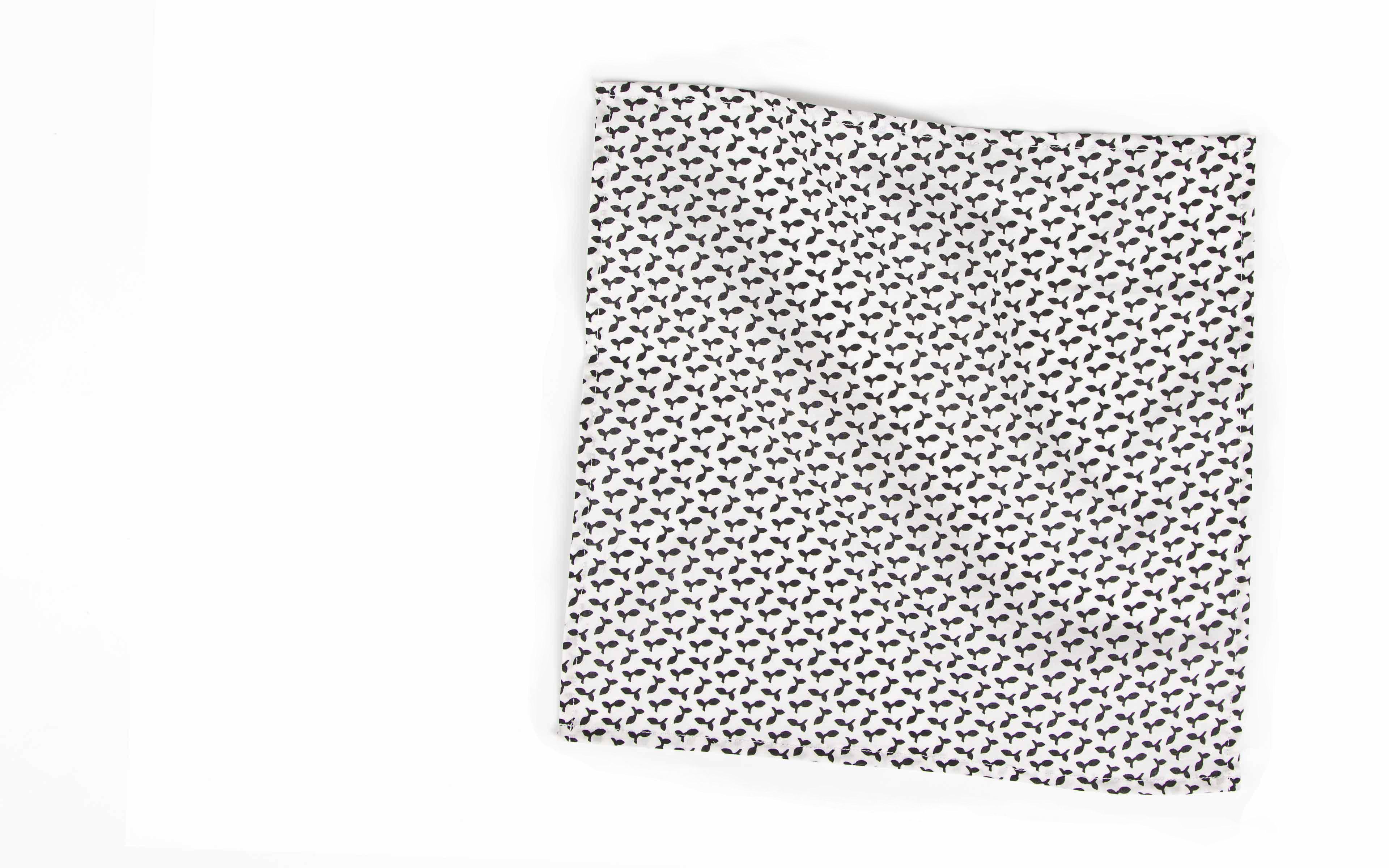 Black and White Patterned Pocket Square