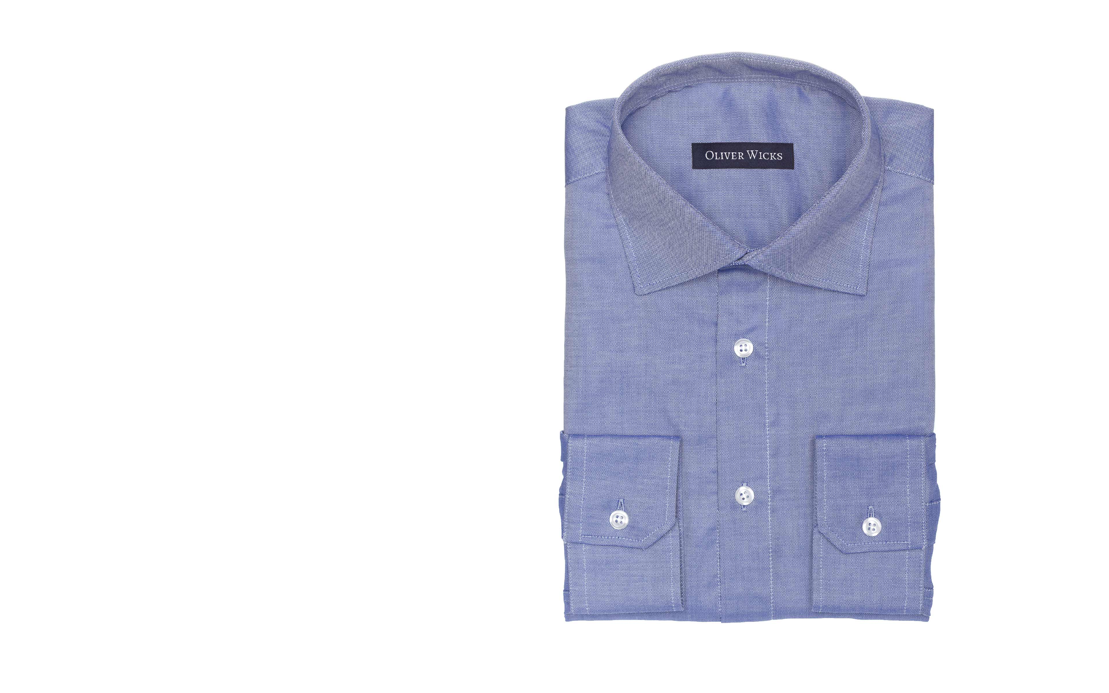 Dark Blue Two-Fold Cotton Oxford Shirt