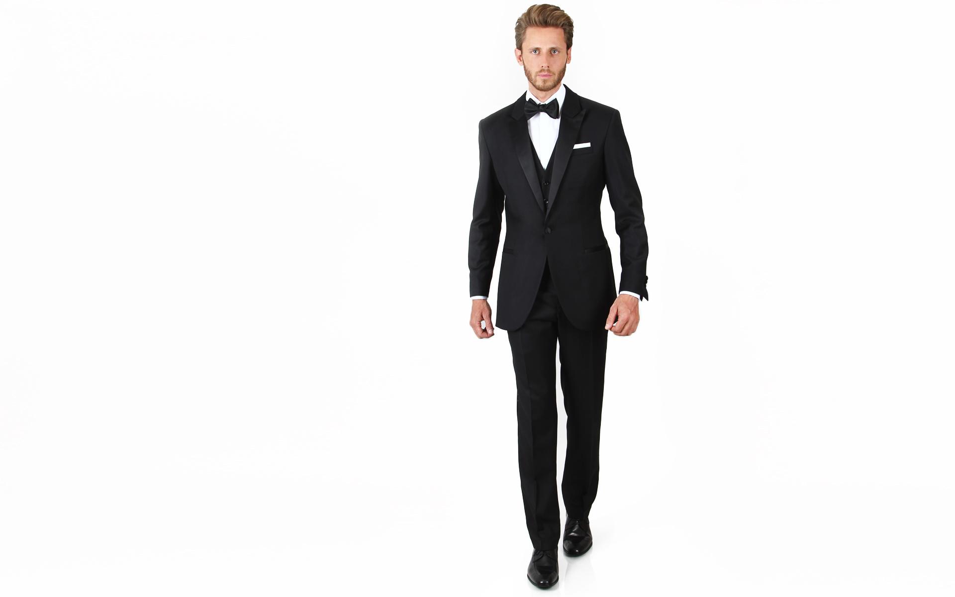 Essential Black 3 Piece Tuxedo in Italian Wool