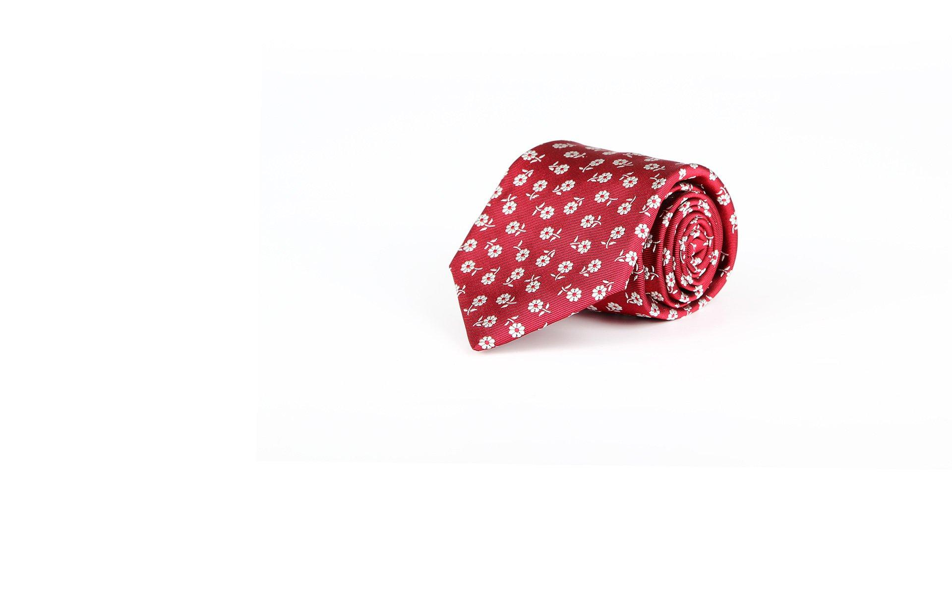 Red Italian 100% Silk Tie With A Floral Pattern