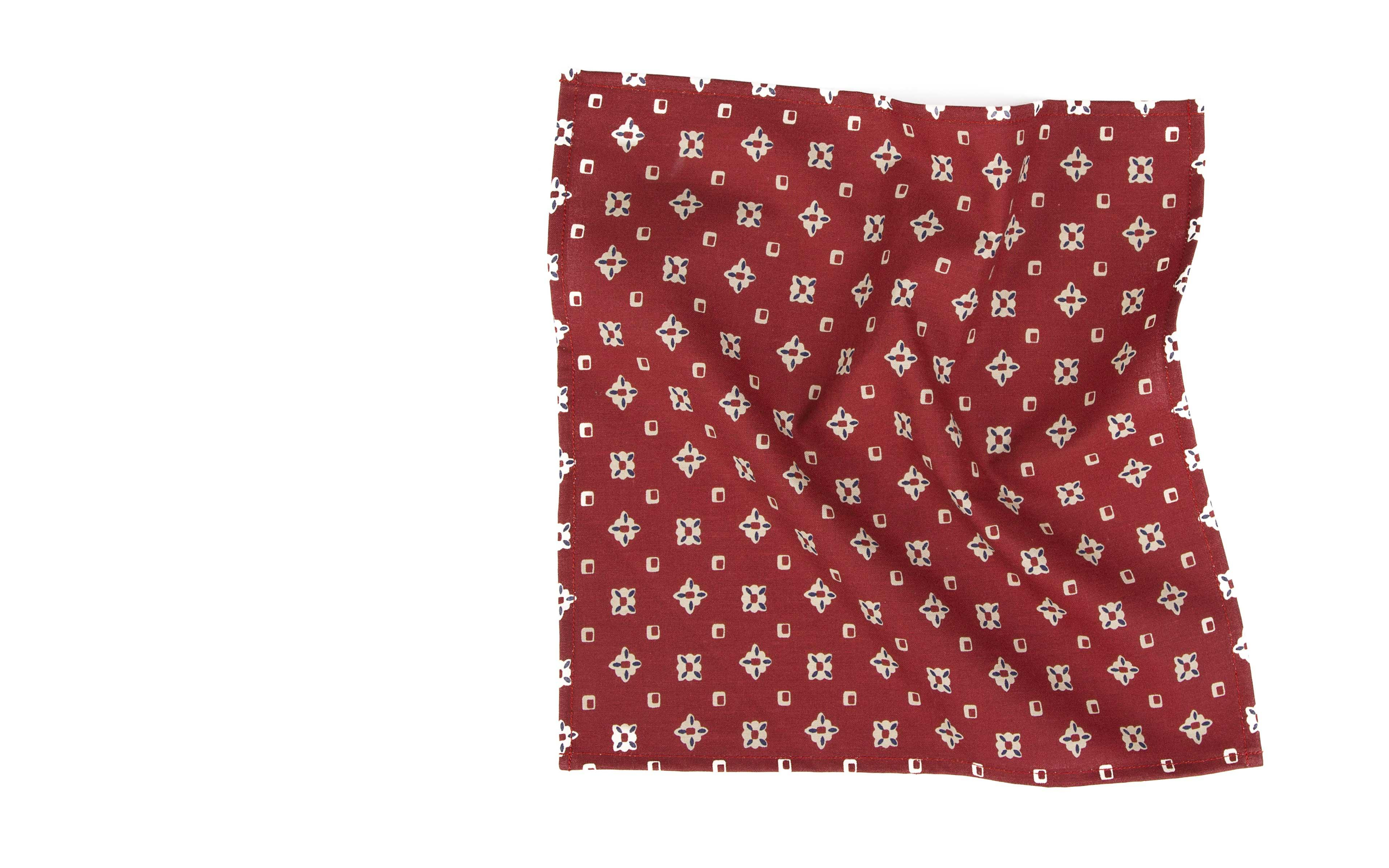 Red Patterned Cotton Pocket Square