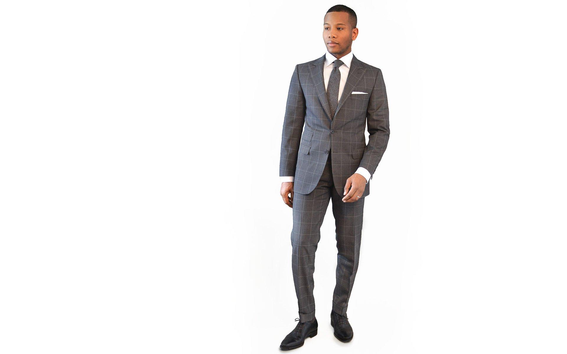 Men's Style Pro Grey Plaid Suit