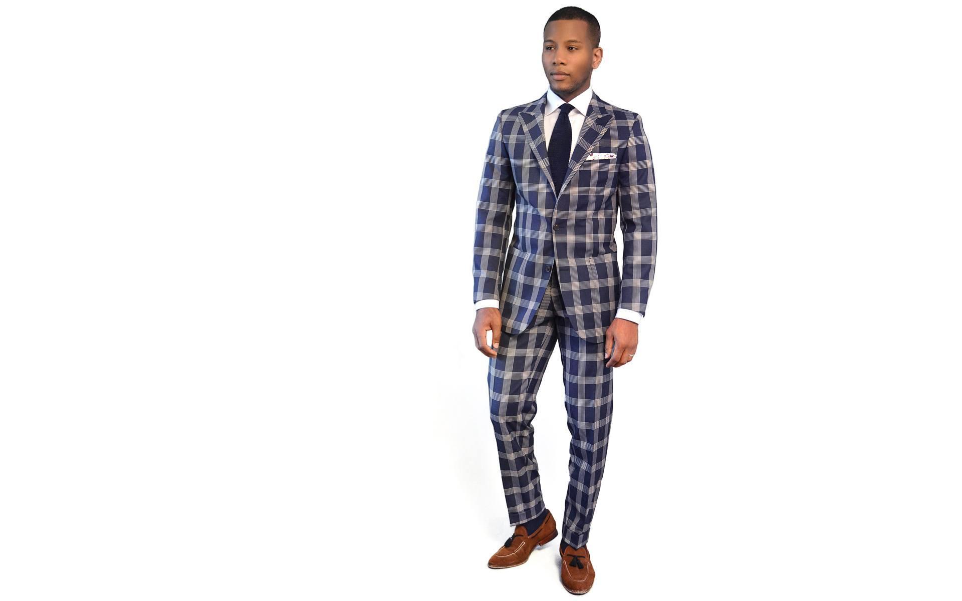 Men's Style Pro Blue Plaid Suit