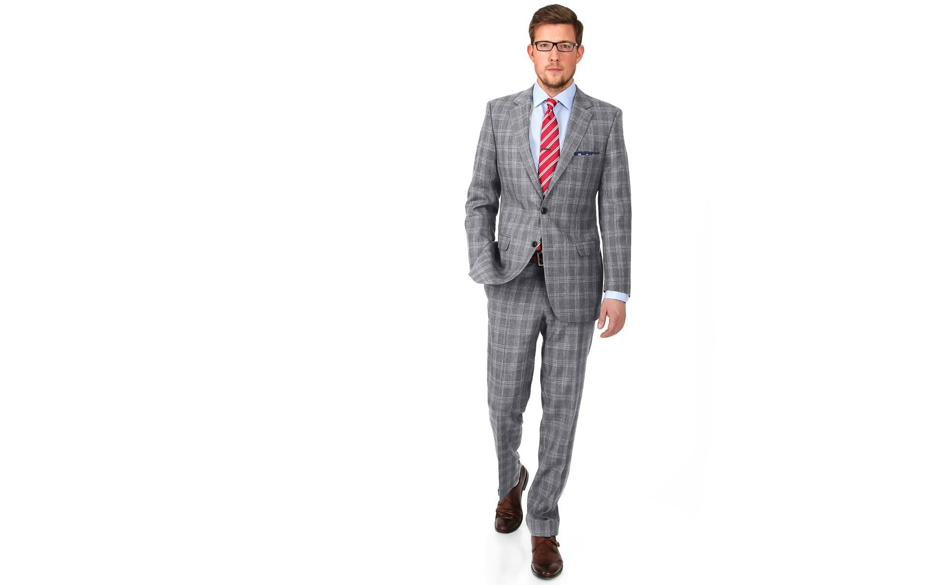 Grey Check Wool & Linen Suit