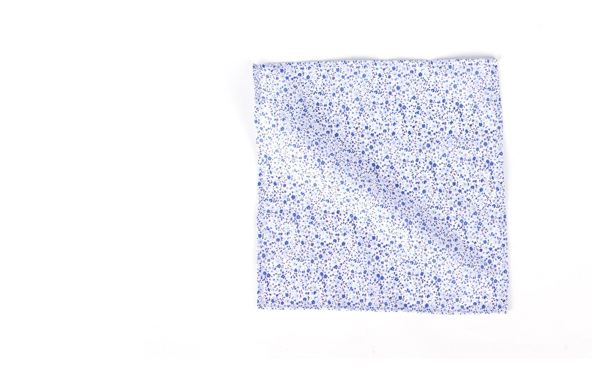 Blue Floral Patterned Cotton Pocket Square
