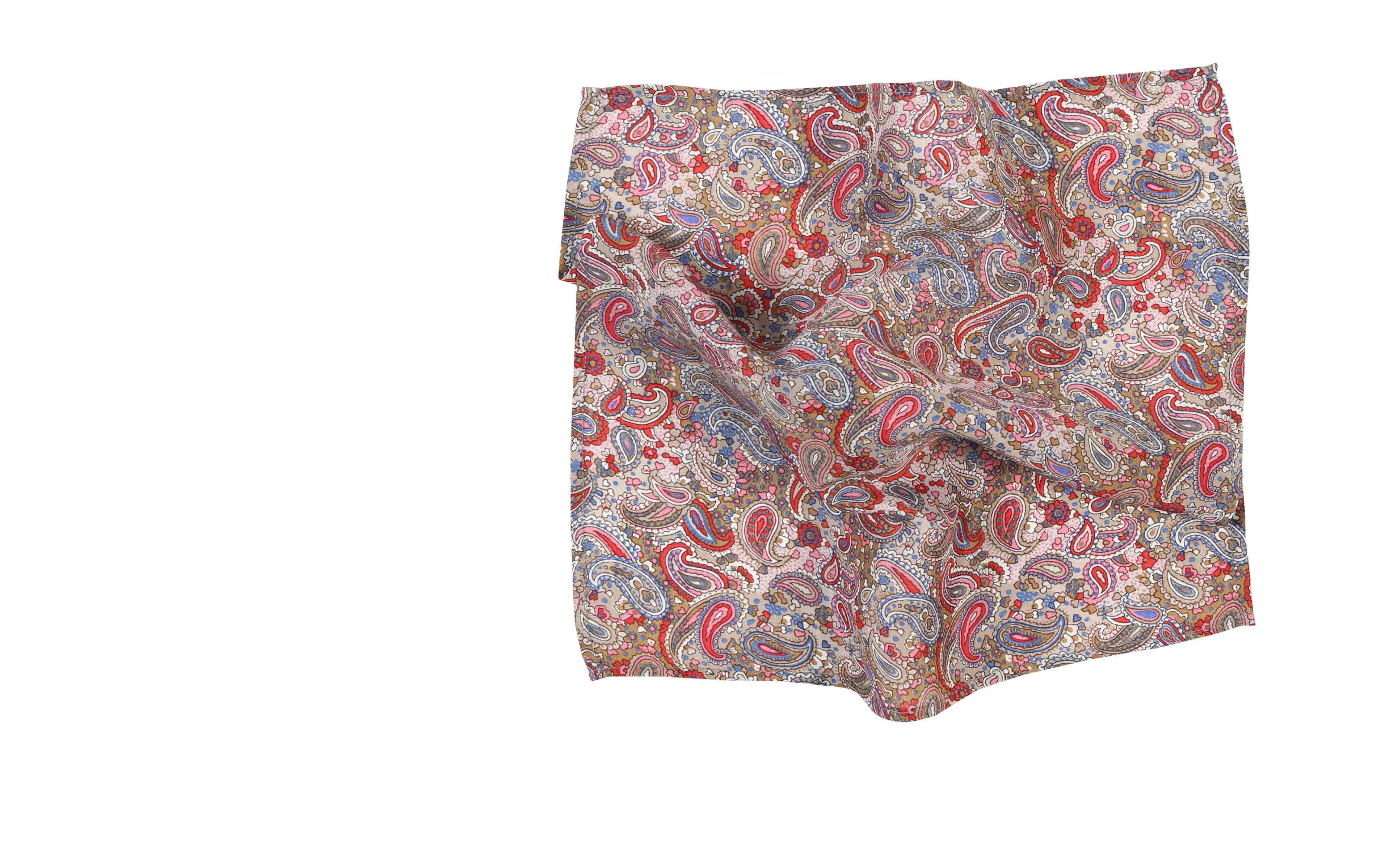Red Paisley Patterned Cotton & Rayon Pocket Square