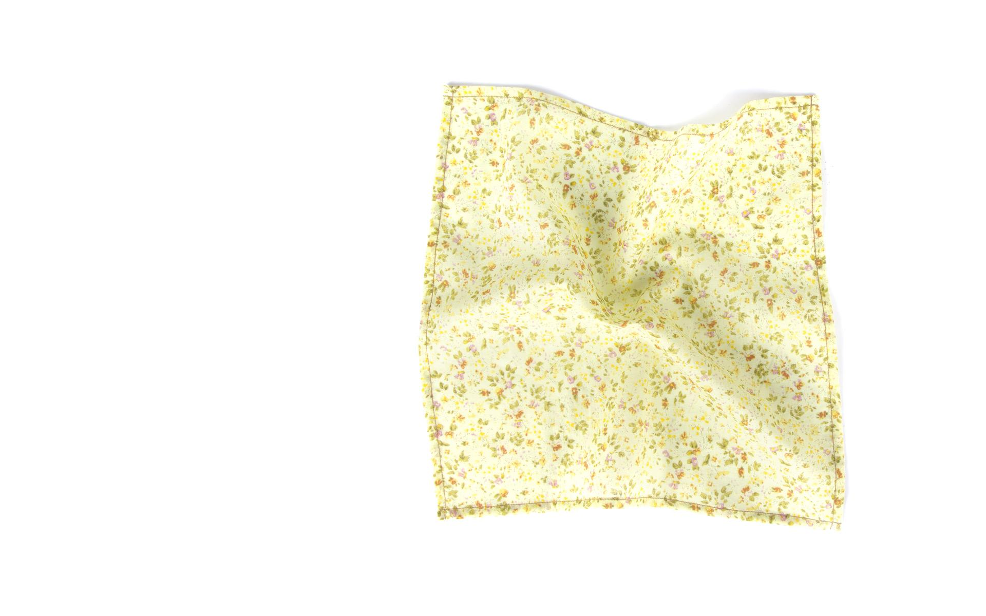 Yellow Floral Patterned Cotton Pocket Square
