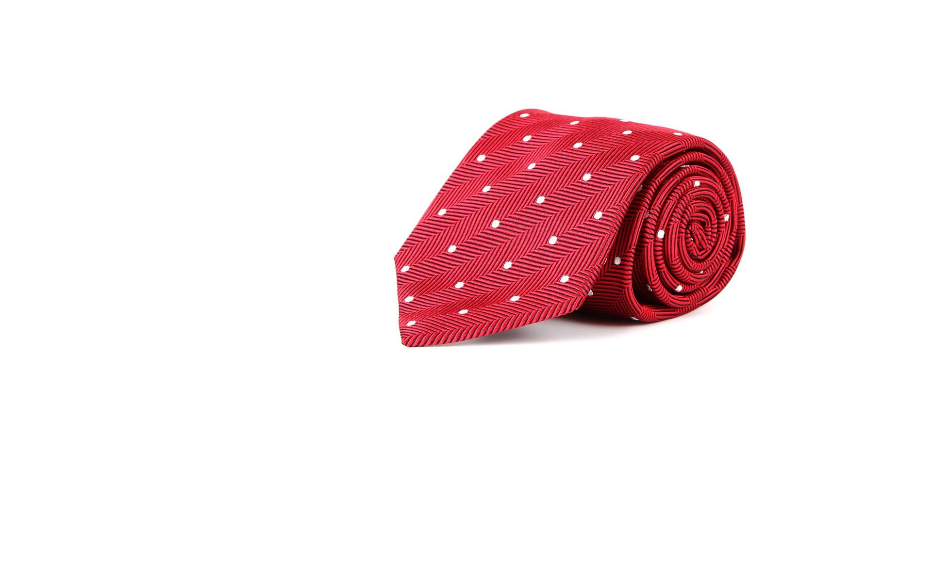 Red Dotted Herringbone 100% Silk Tie