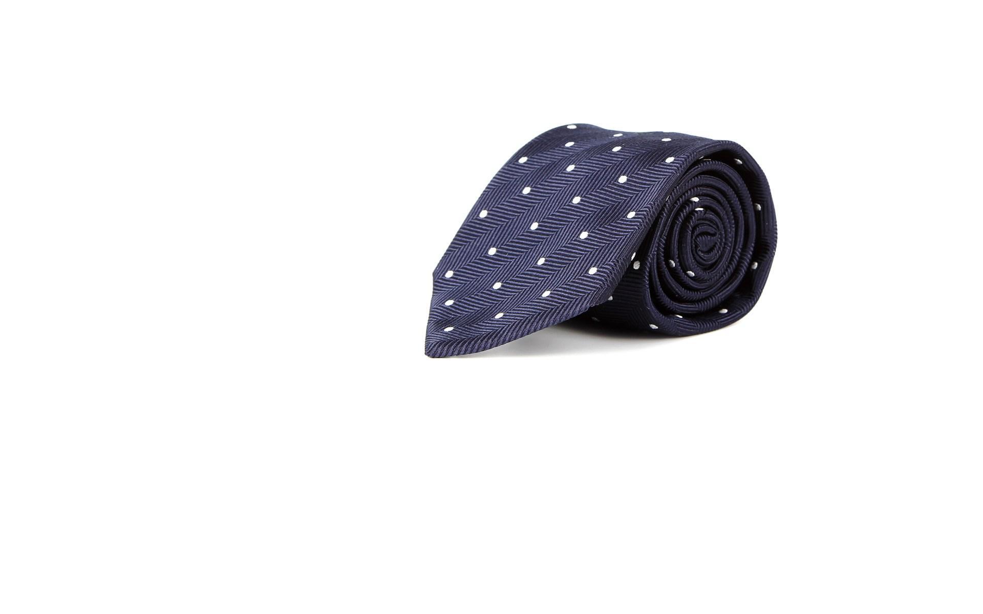 Navy Dotted Herringbone 100% Silk Tie