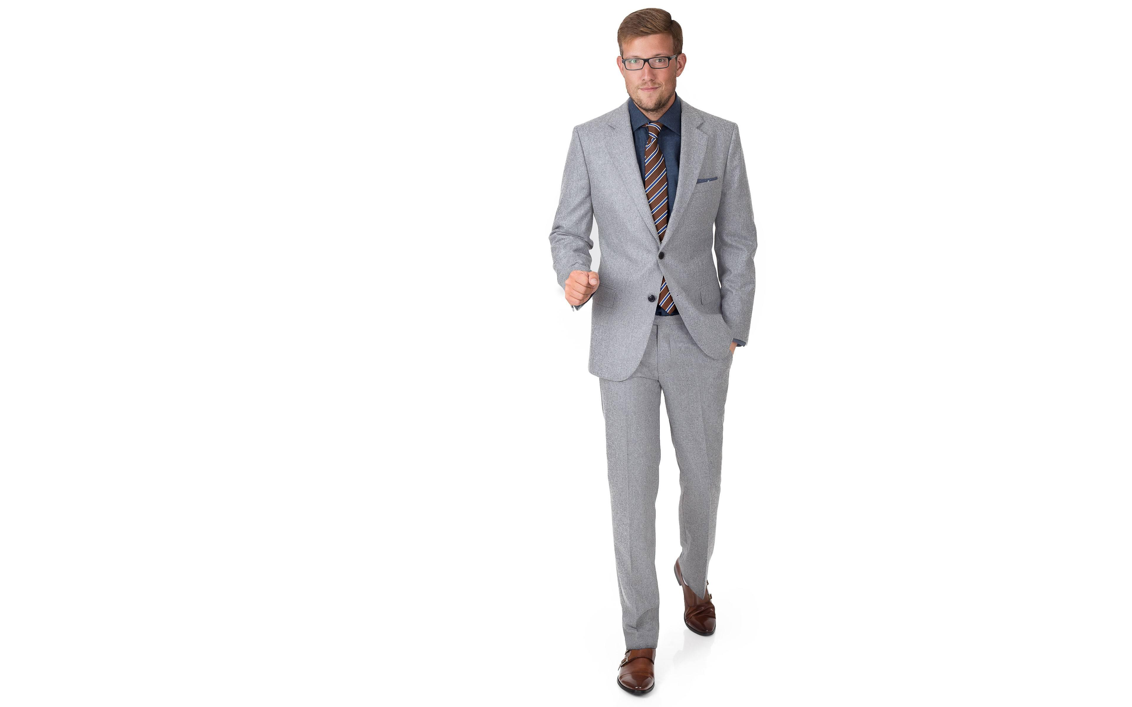 Light Grey Wool Flannel Suit