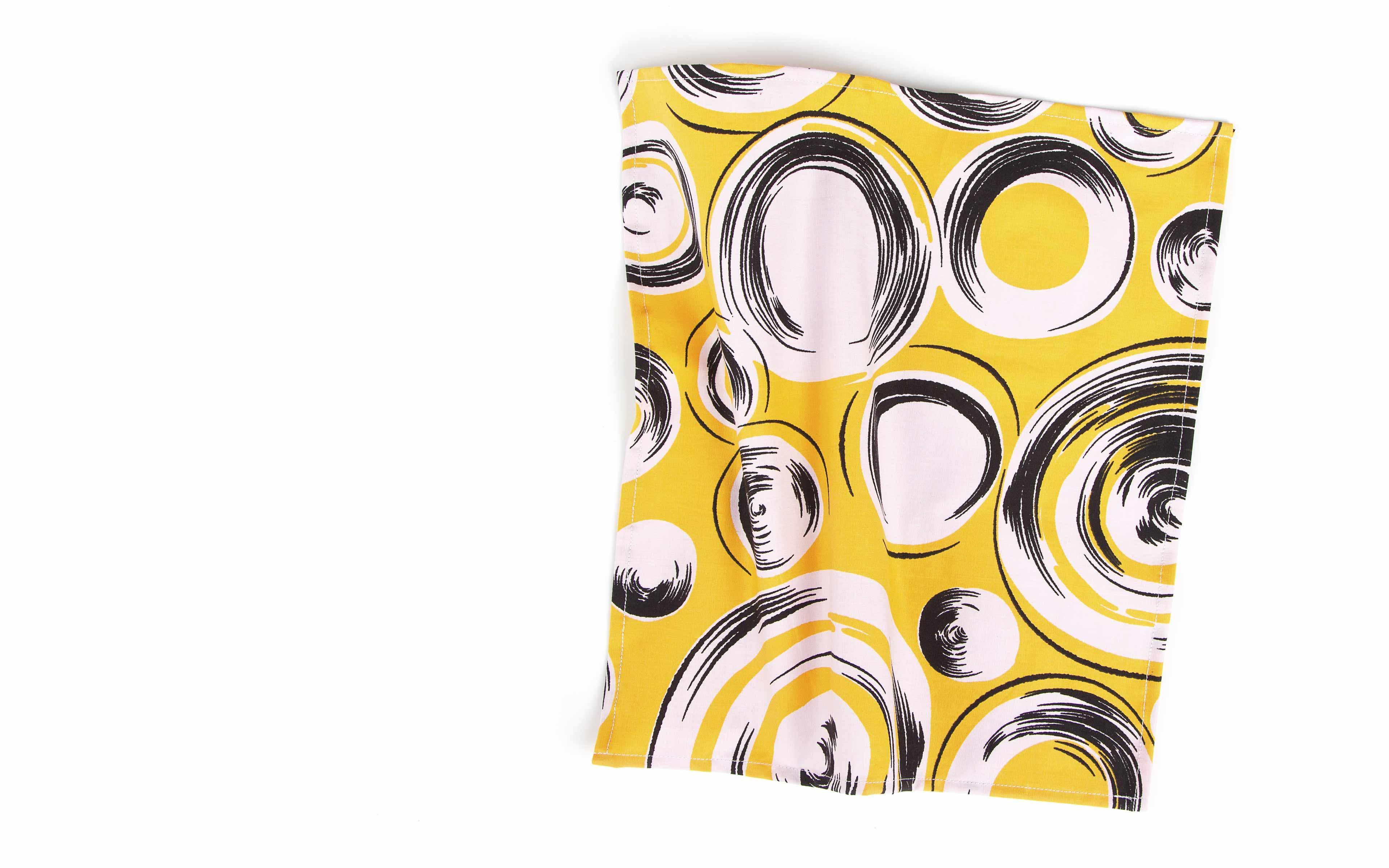 Yellow Pocket Square with Shapes Pattern