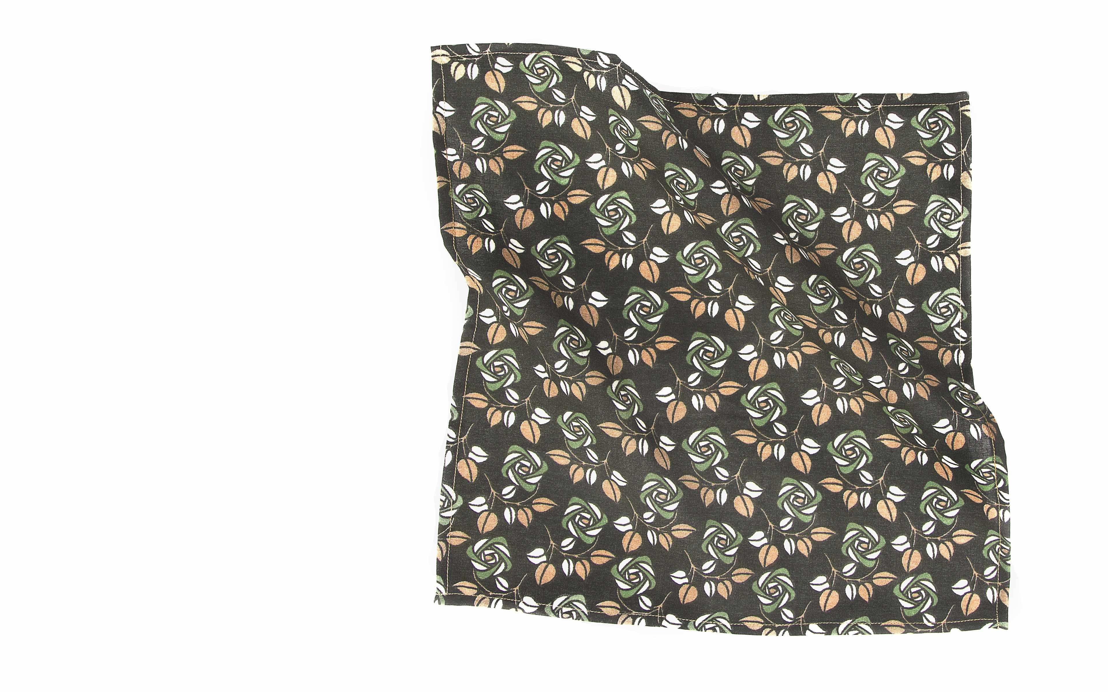 Green Flowers Cotton Pocket Square
