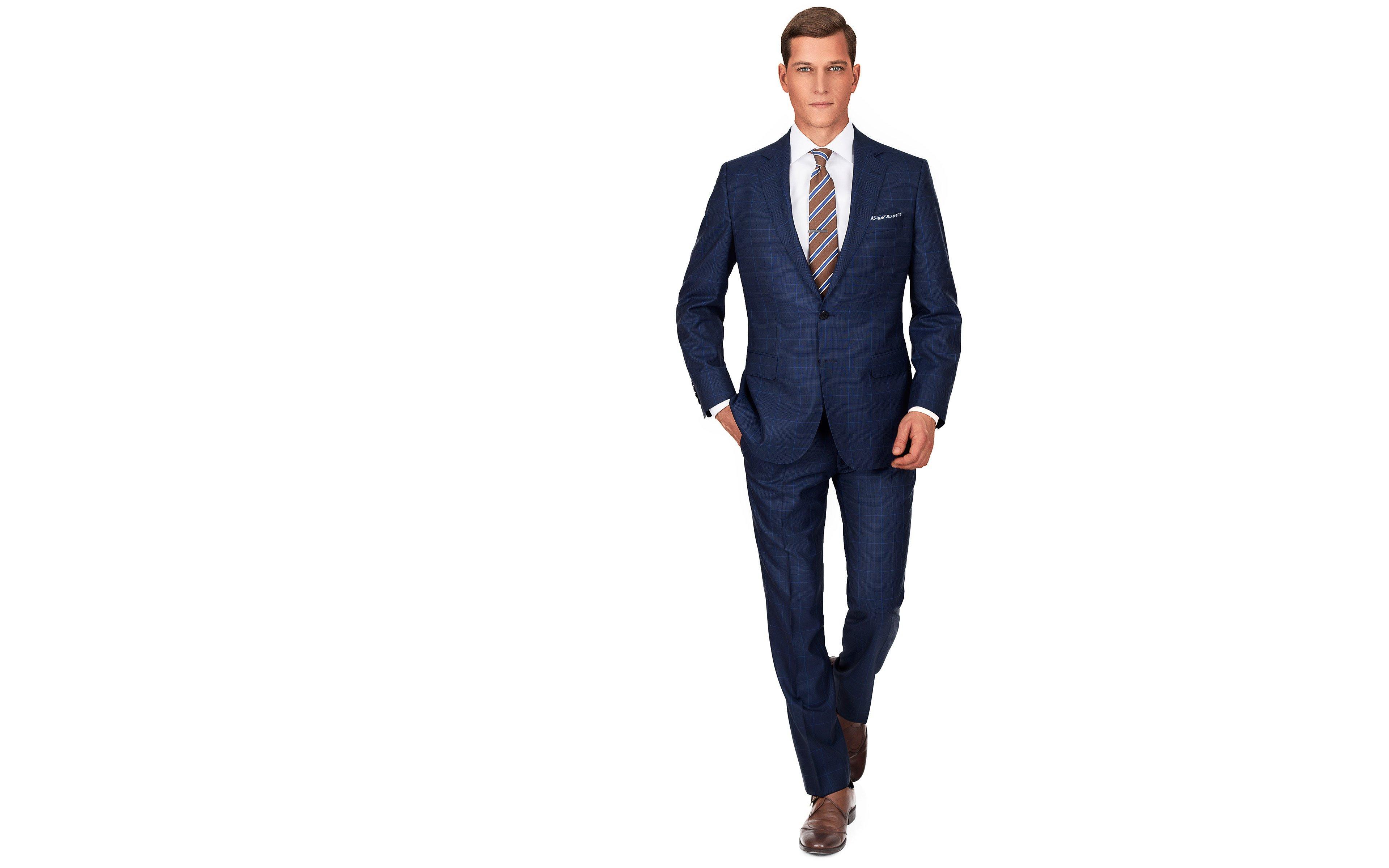 Premium Navy & Blue Plaid Suit