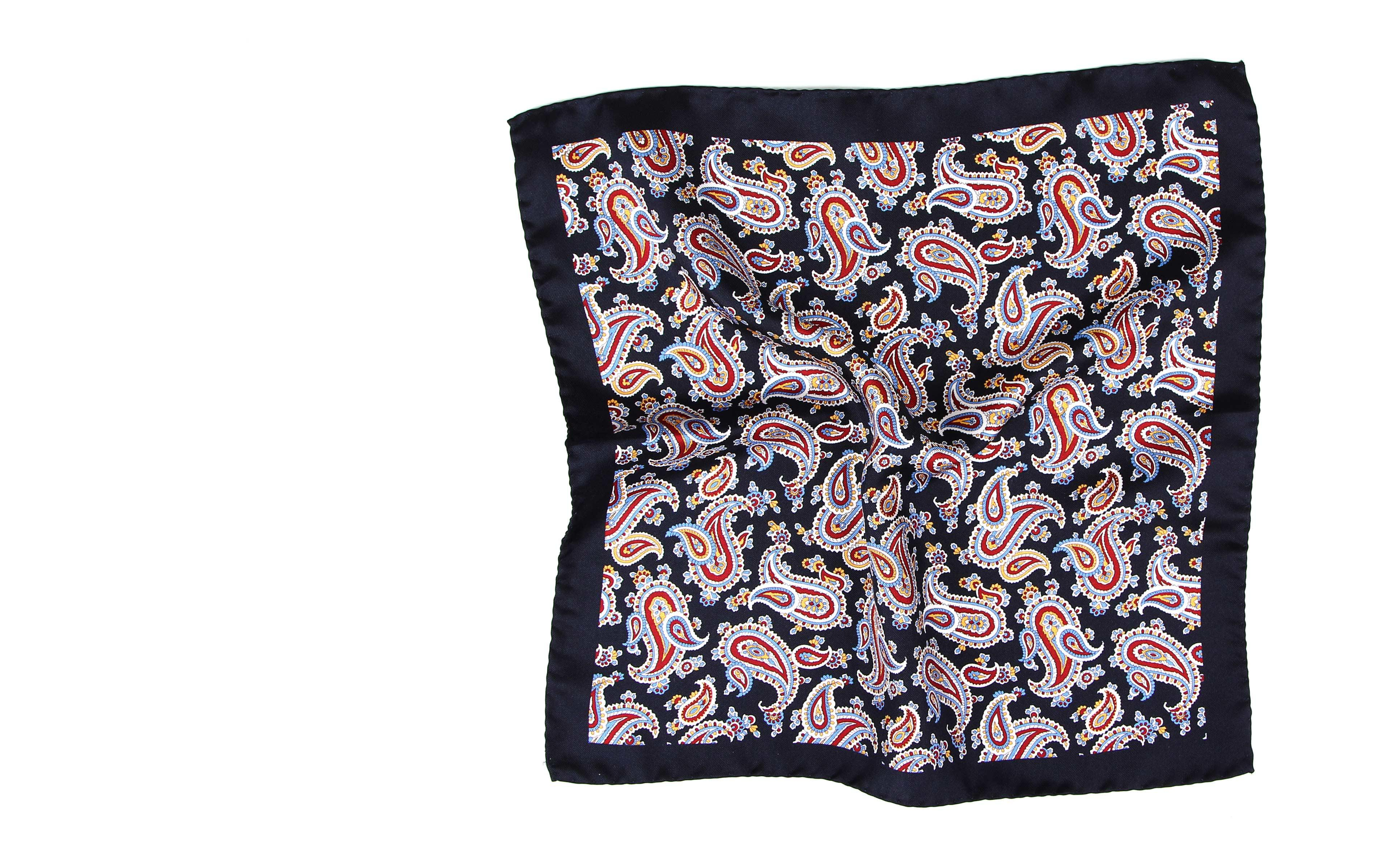 Navy & Red Paisley Silk Pocket Square