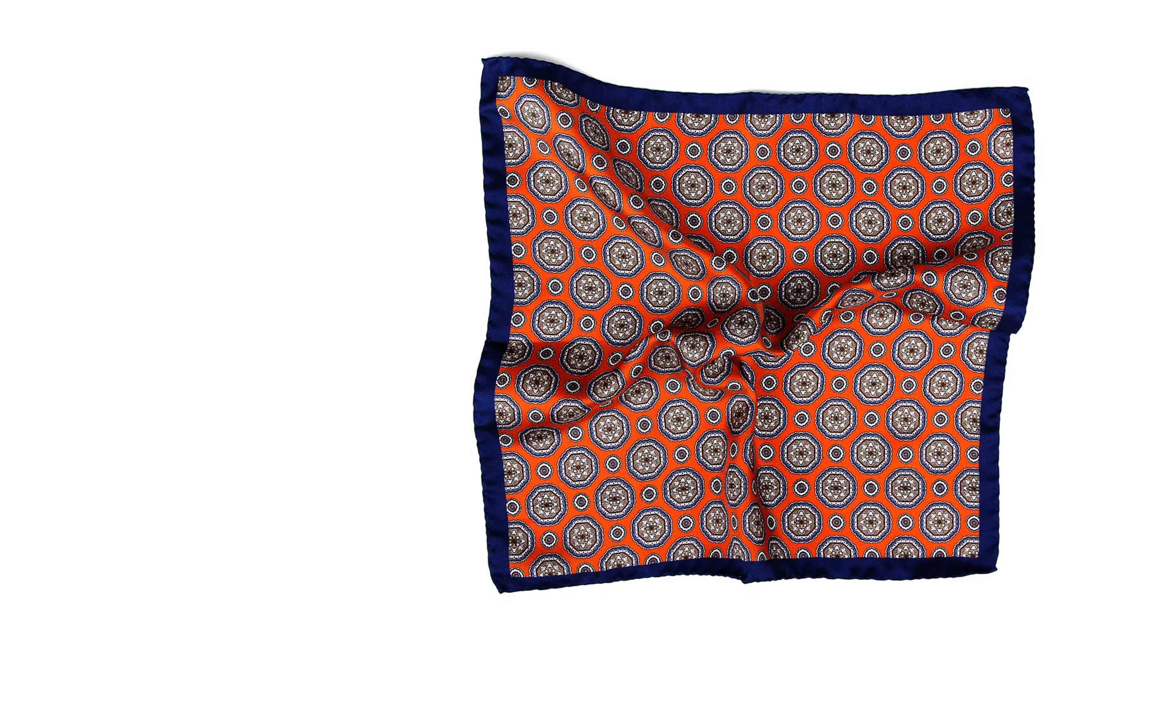 Navy & Copper Shapes Italian 100% Silk Pocket Square