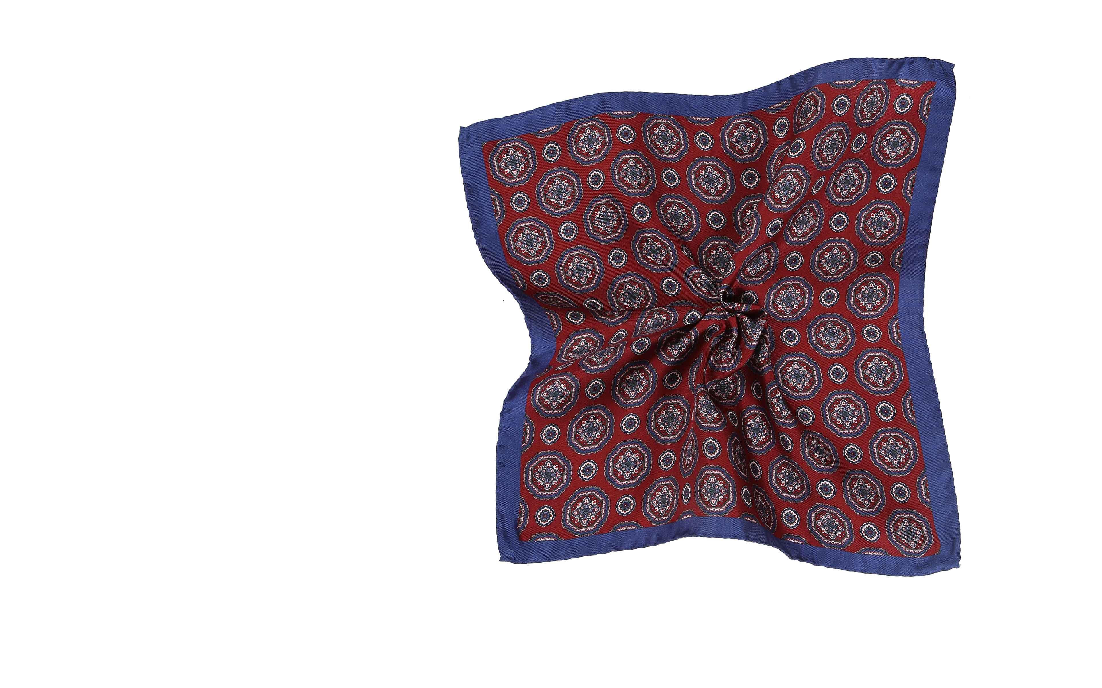 Navy & Red Shapes Italian 100% Silk Pocket Square