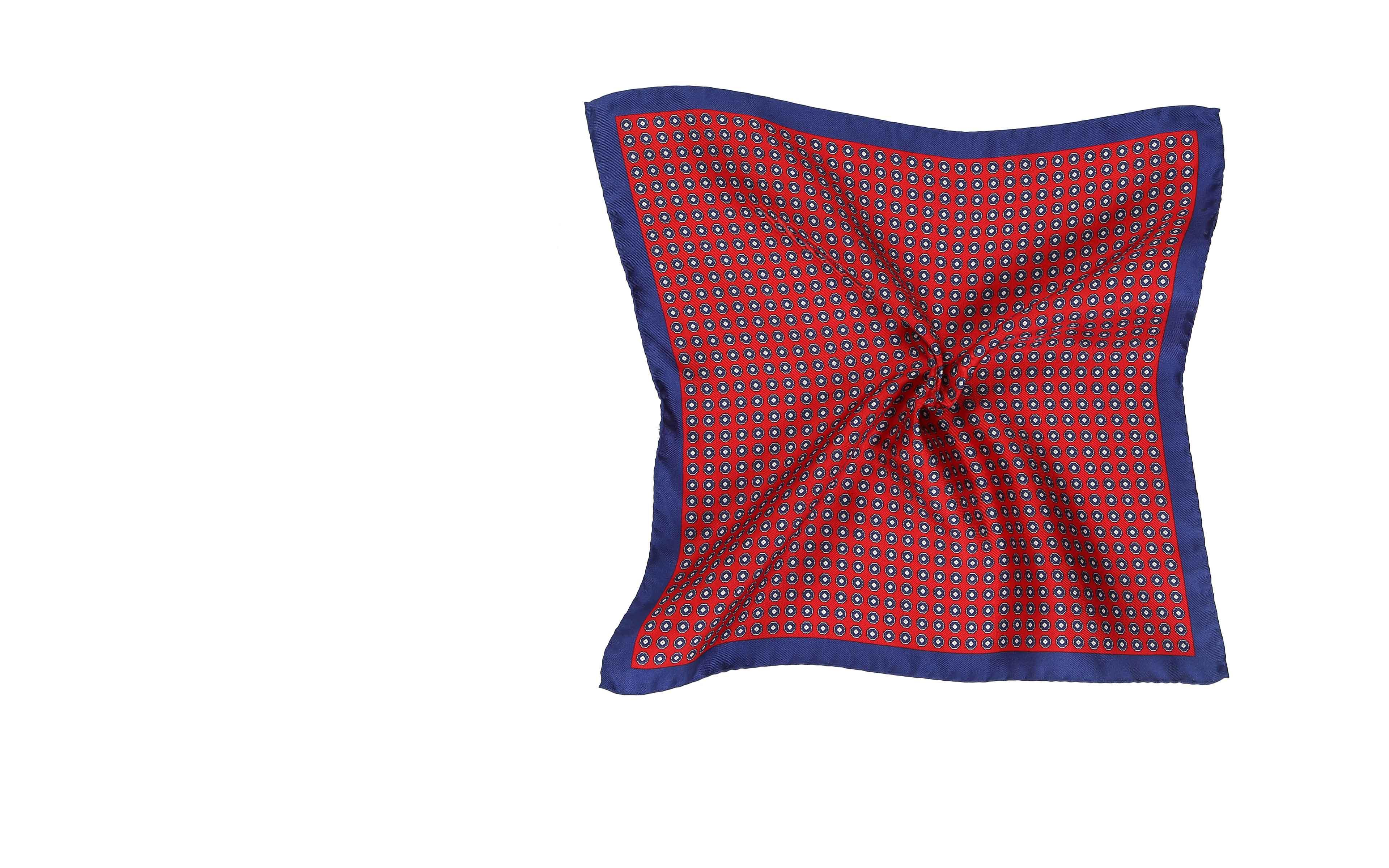 Red & Navy Silk Pocket Square