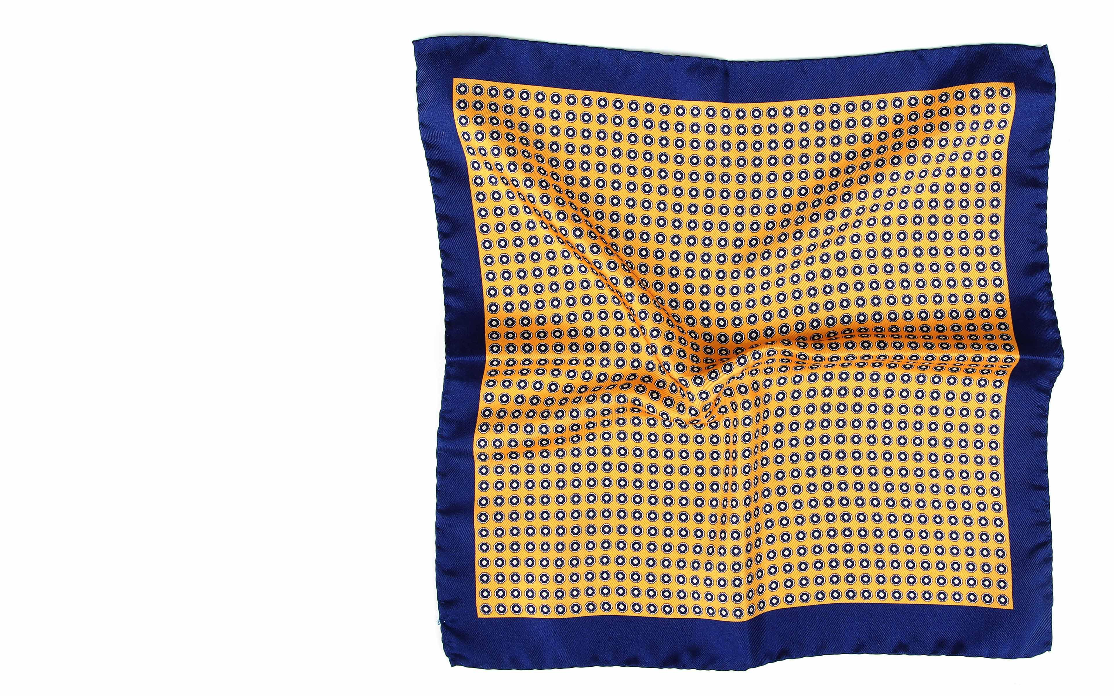 Navy & Yellow Silk Pocket Square