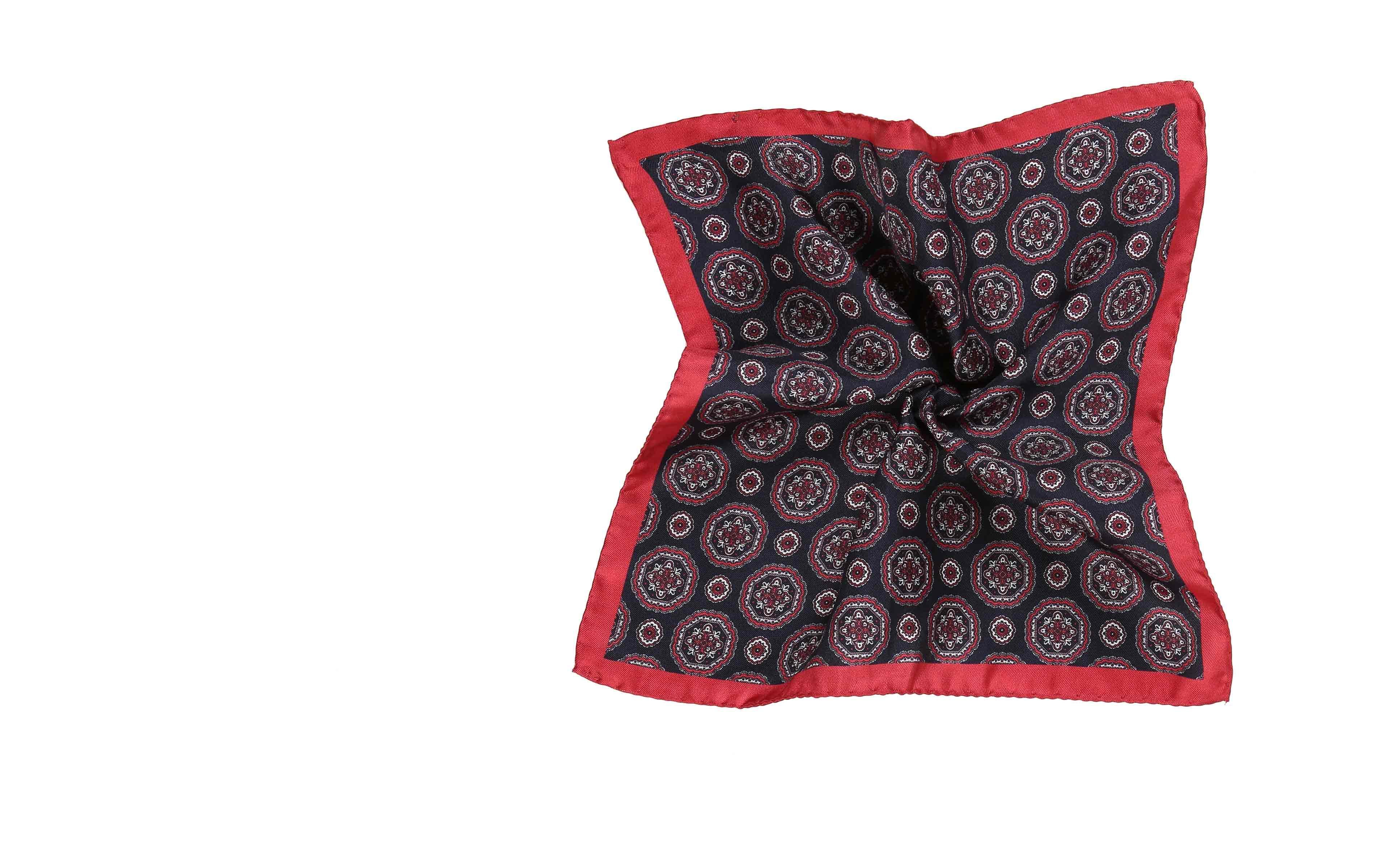 Navy 100% Silk Pocket Square with Red Shapes