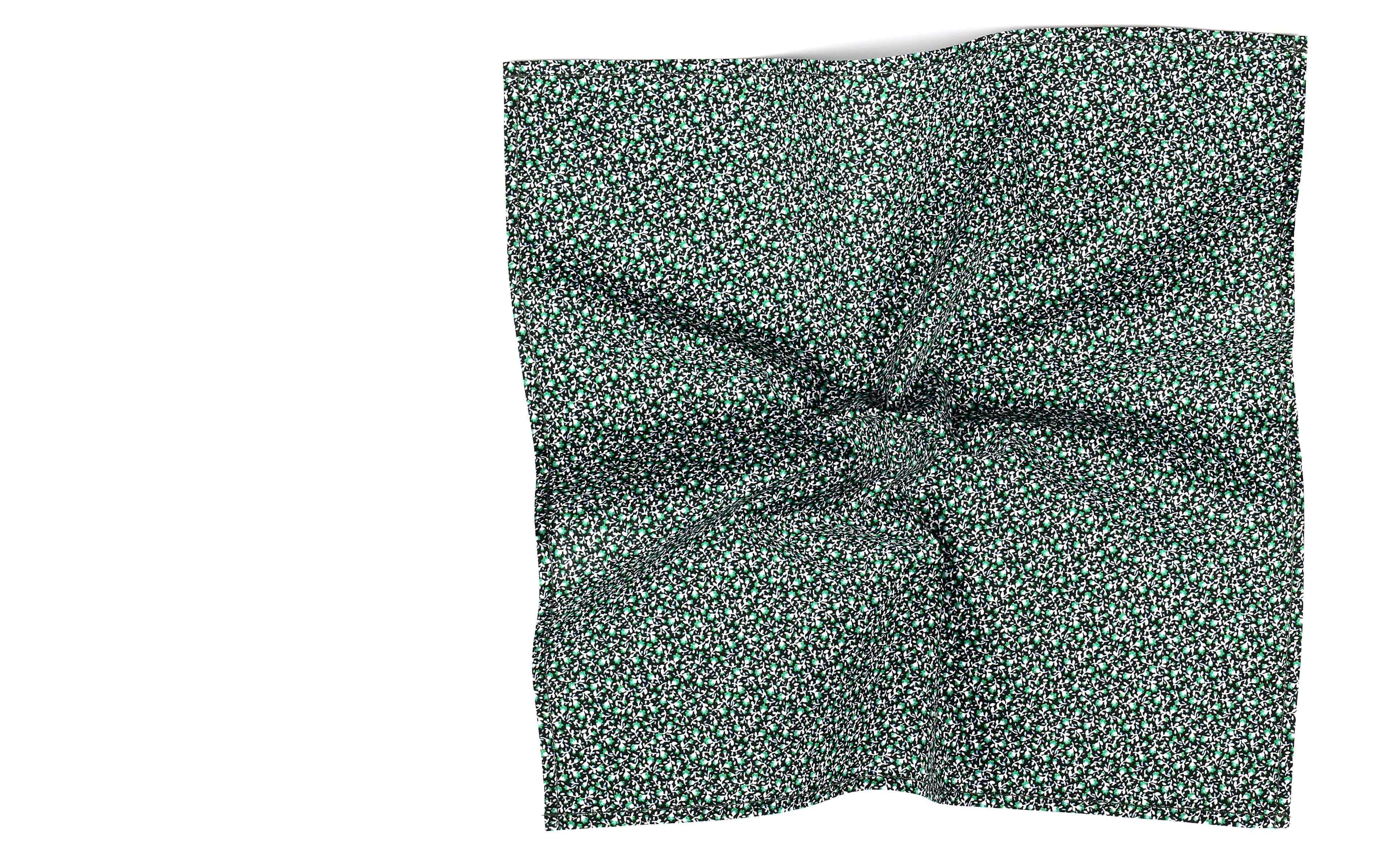 Green Floral Cotton Pocket Square