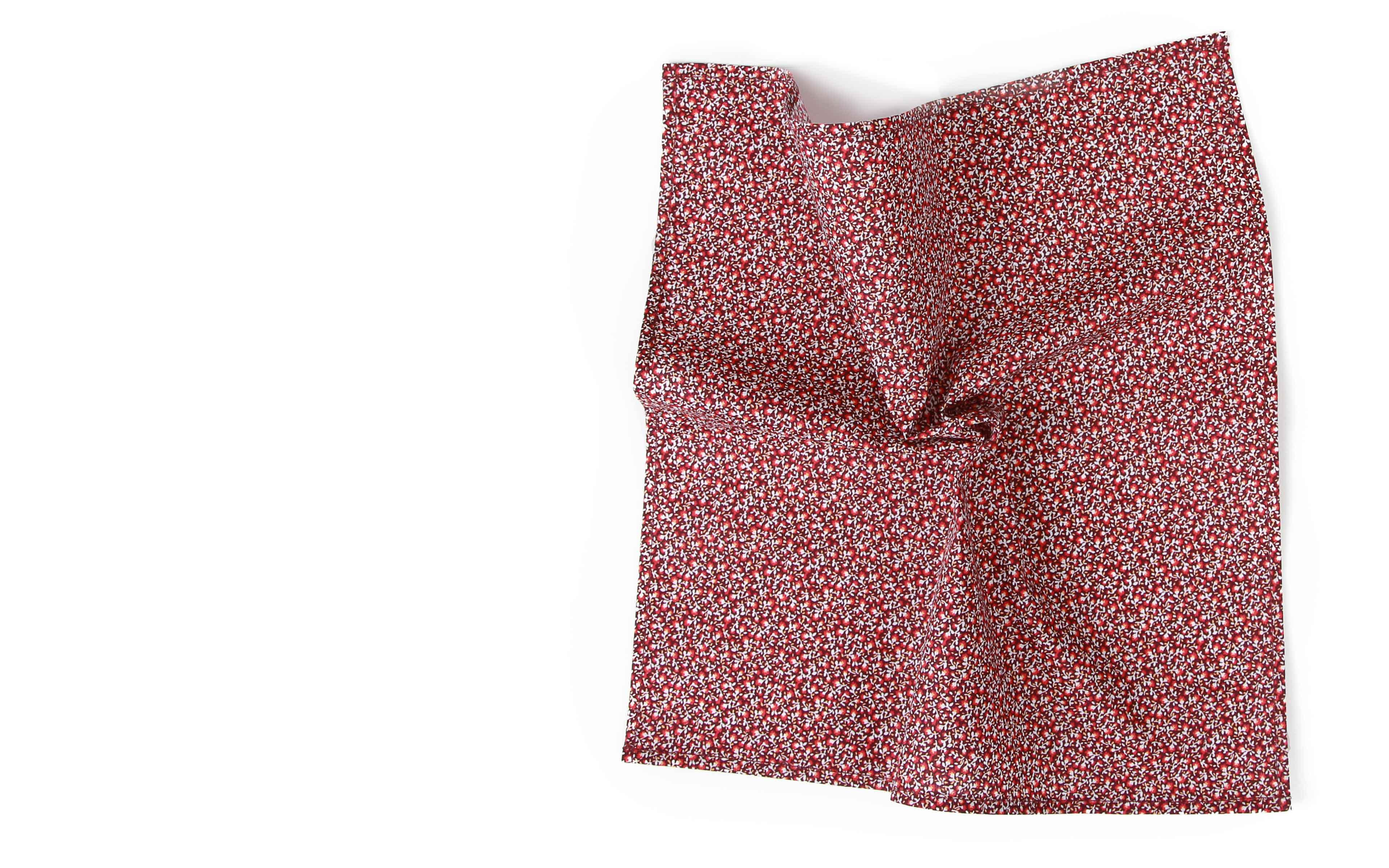 Red Pocket Square with Flowers Pattern